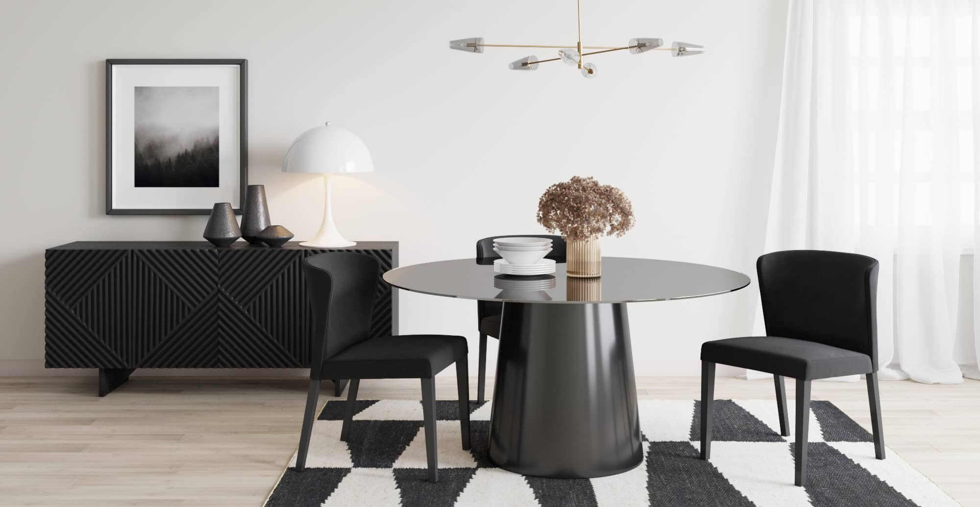 minimalist living room round black dining table with centre leg and luxe black sideboard
