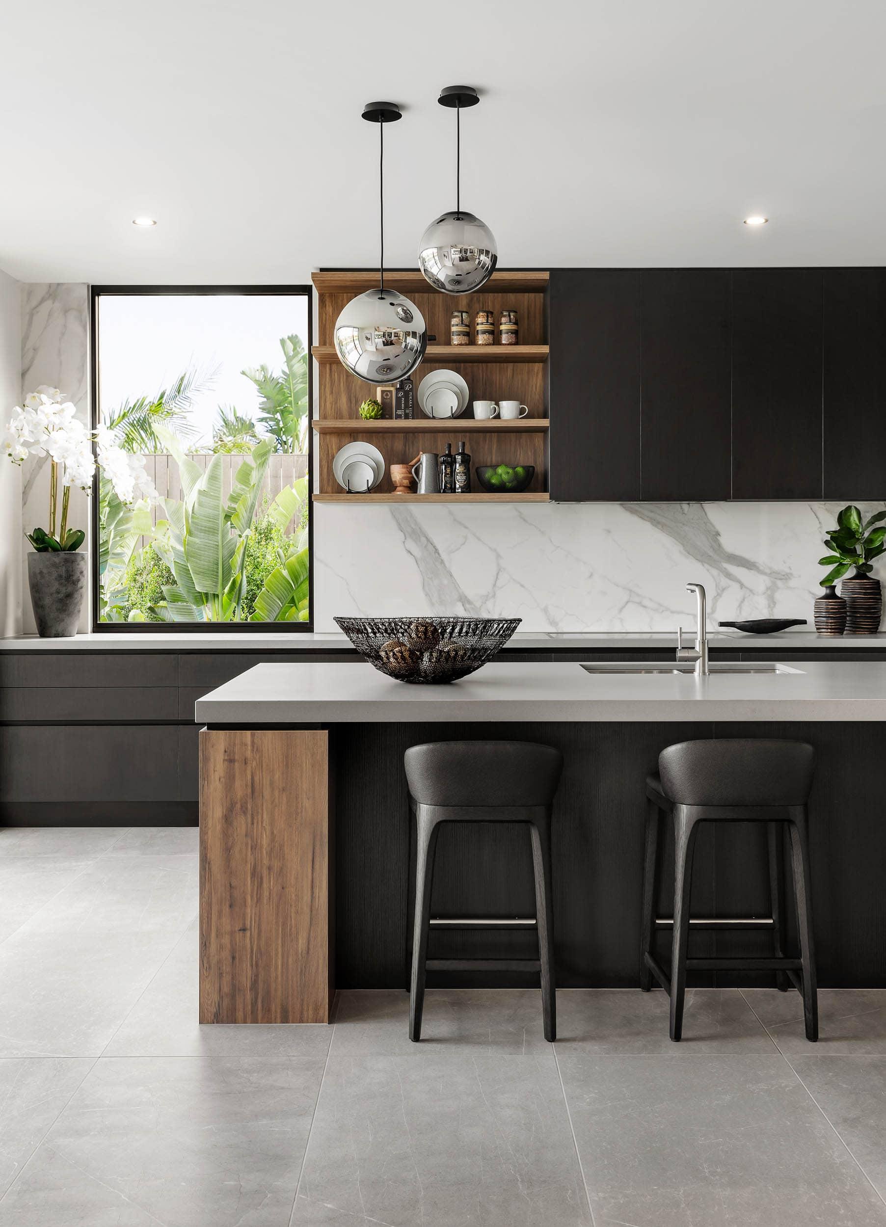 modern black and white kitchen metricon riviera show home