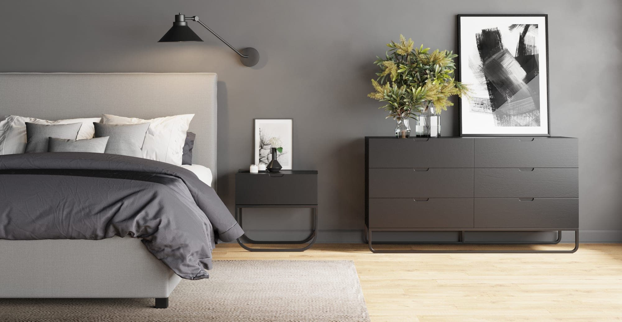 moody master bedroom with charcoal walls and black timber furniture minimalist bedroom design