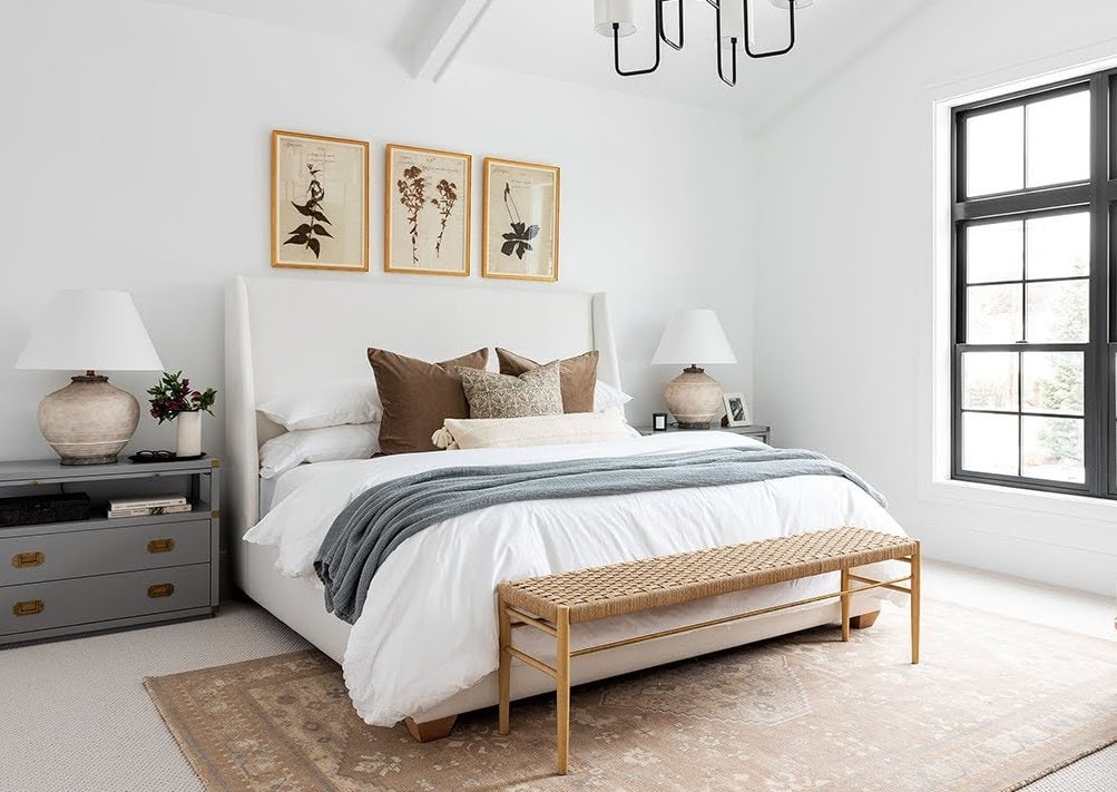 neutral bedroom with black frame windows white walls studio mcgee
