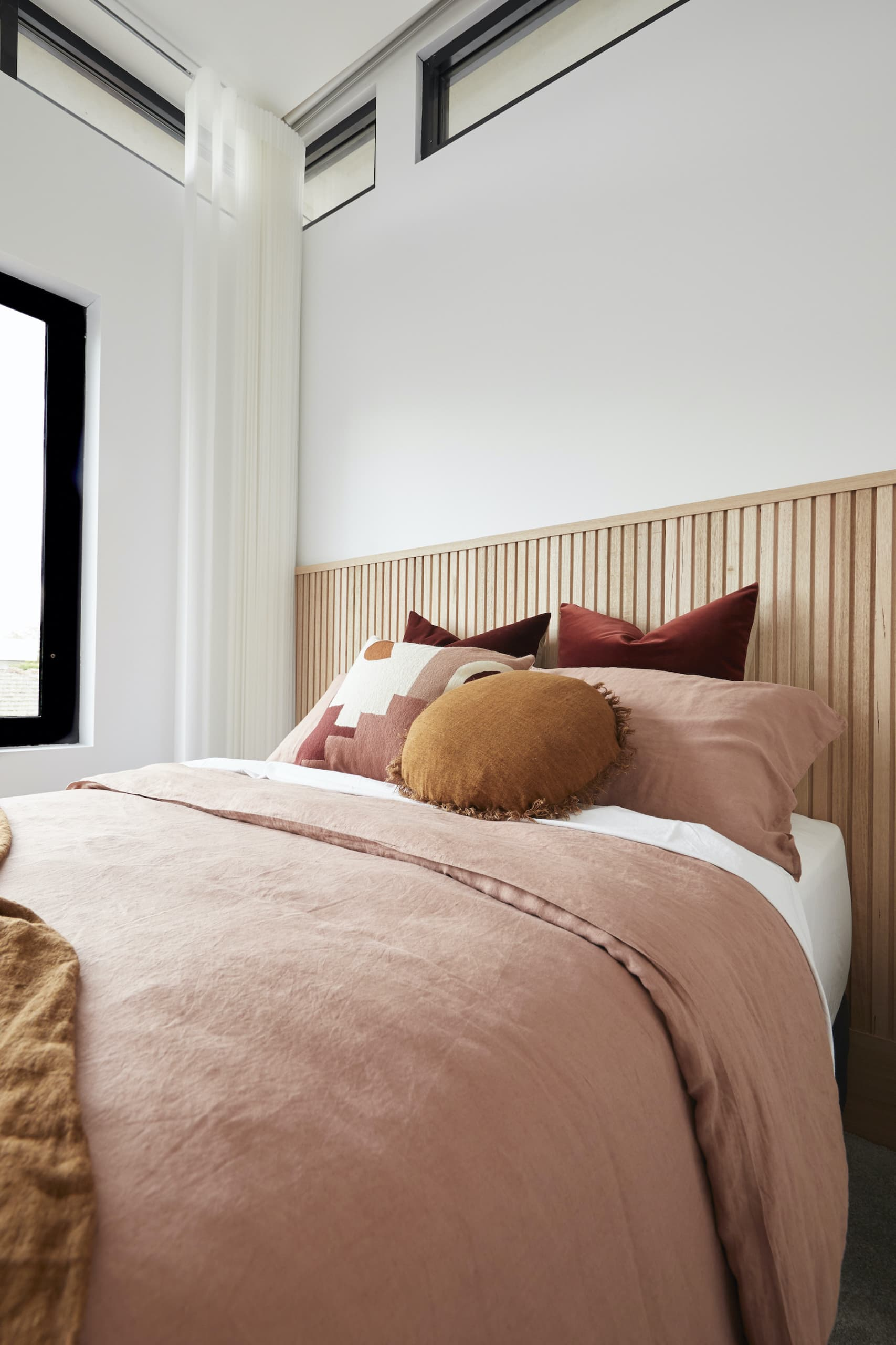 the block 2020 daniel and jade upstairs girls bedroom with pink quilt cover set and mustard cushion