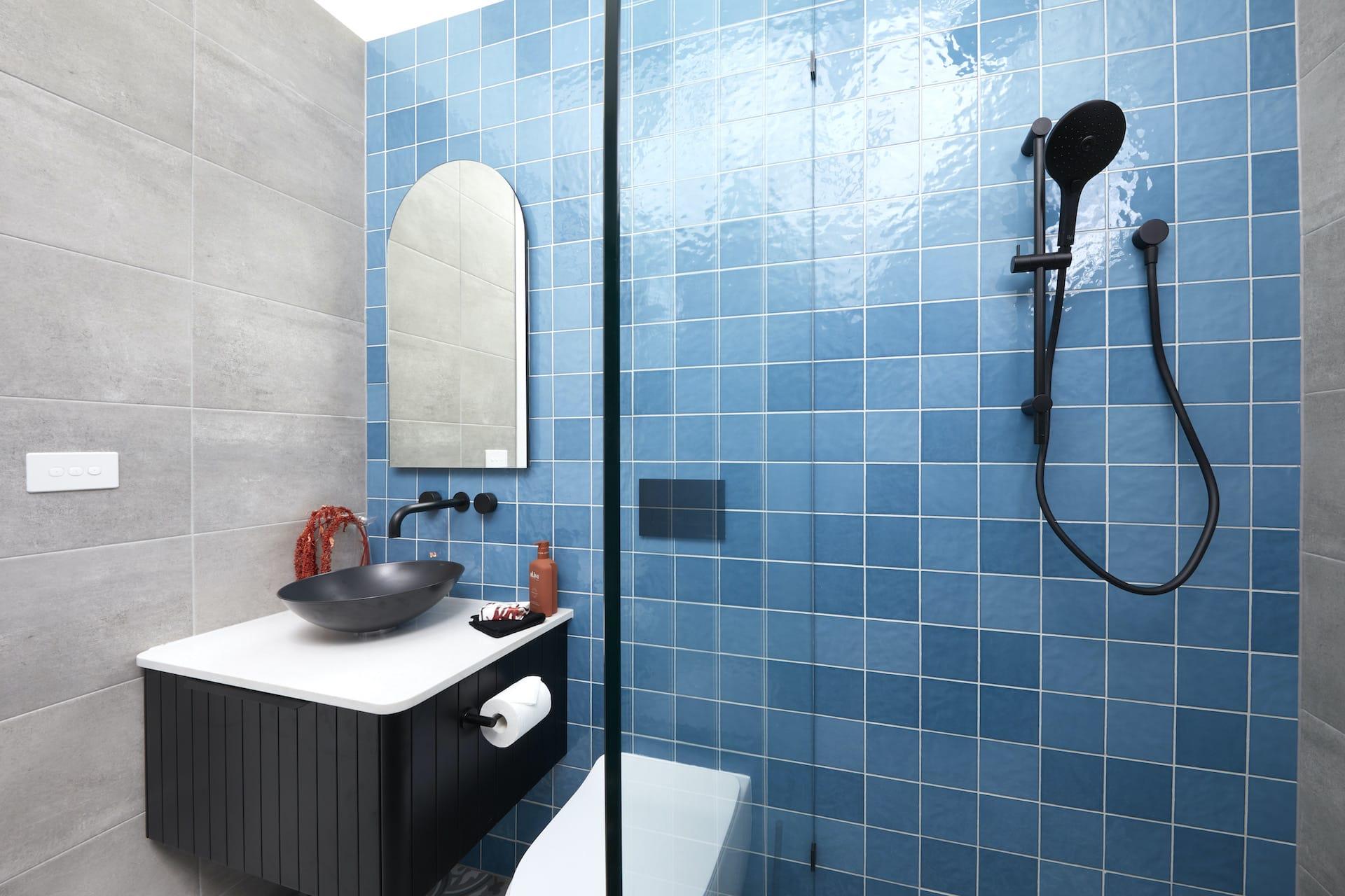 the block 2020 guest ensuites harry and tash black bathroom vanity