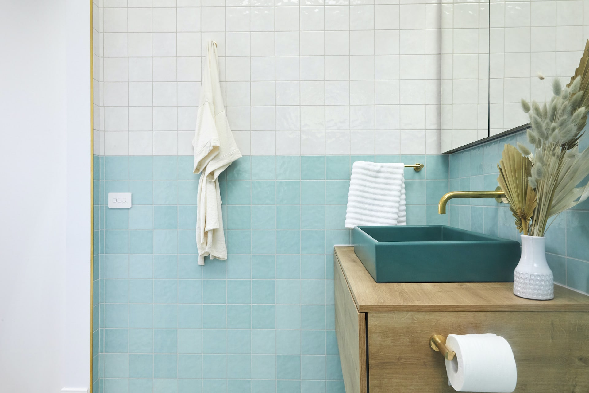 the block 2020 guest ensuites jimmy and tam turquoise bathroom tiles