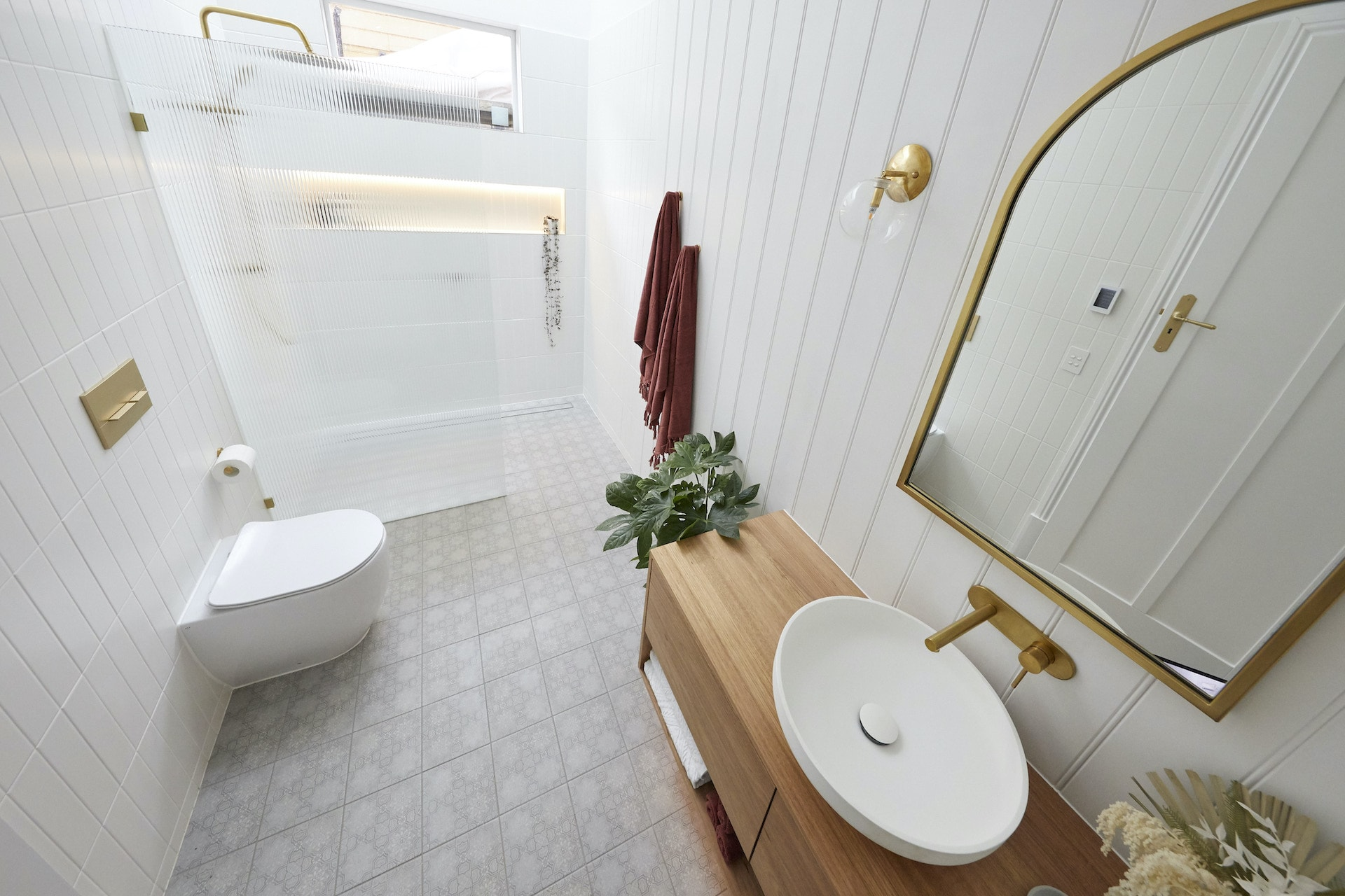 the block 2020 guest ensuites luke and jasmine bathroom with bevelled shower screen