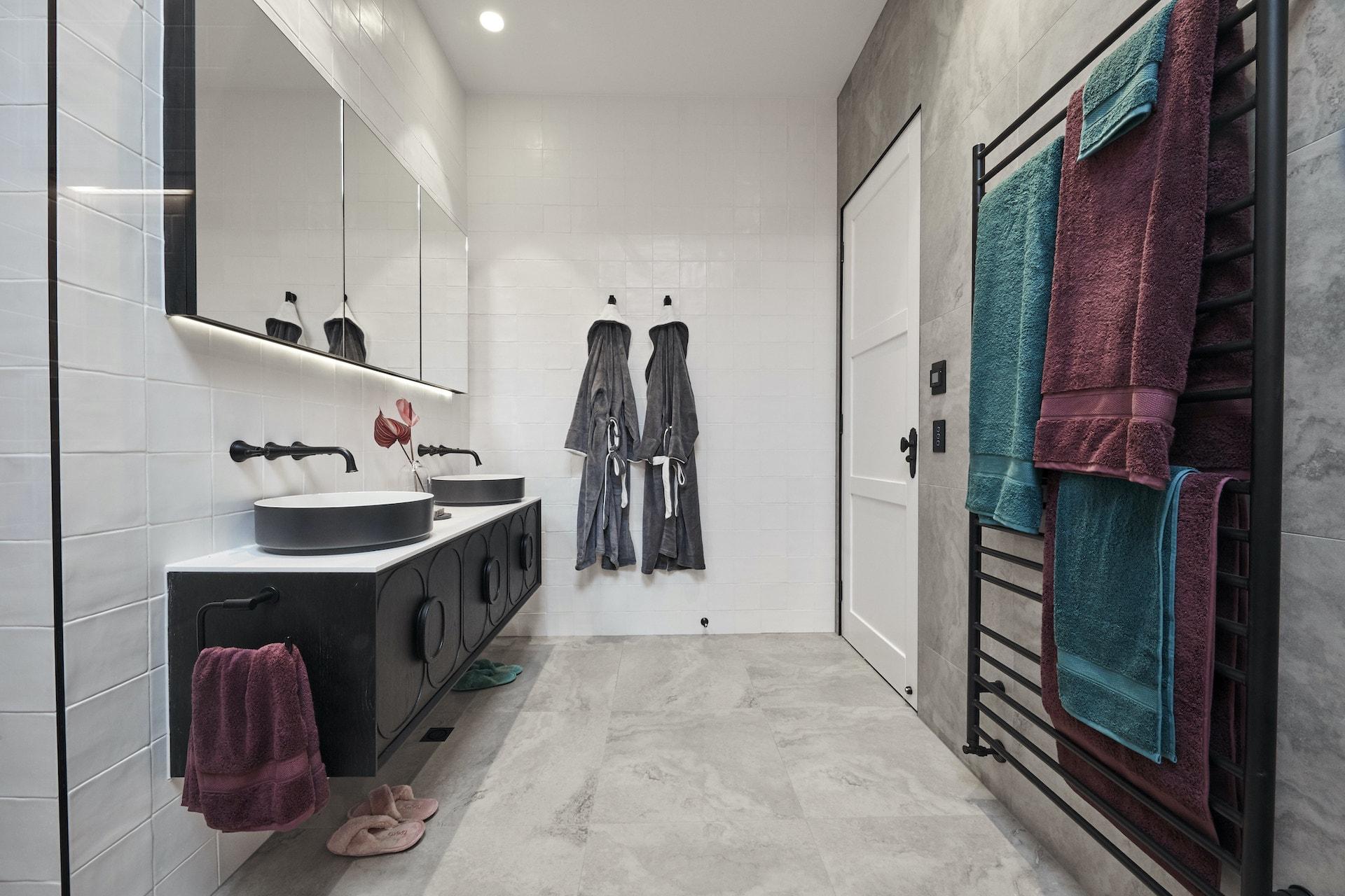 the block 2020 guest ensuites sarah and george black bathroom vanity twin basin
