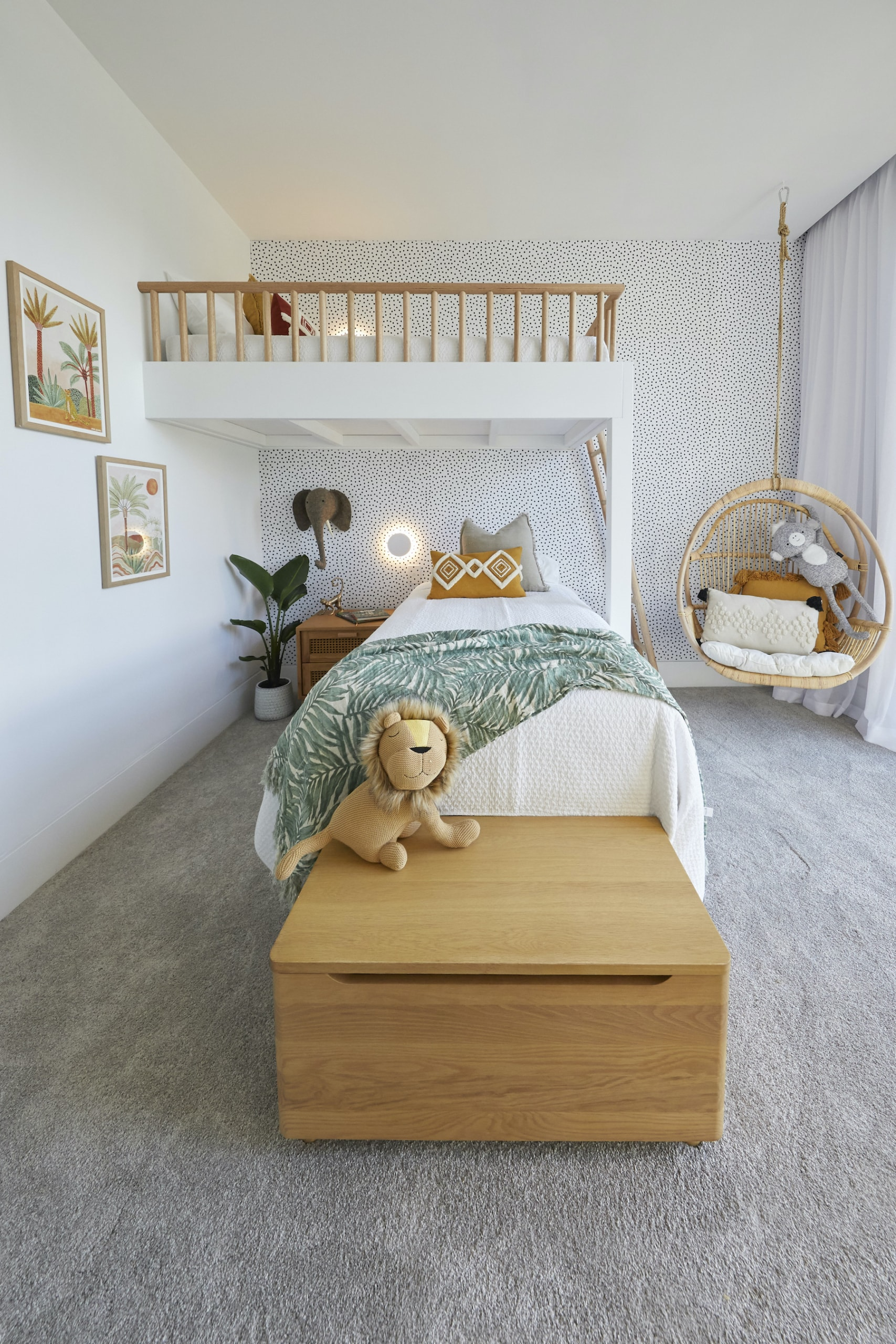 the block 2020 luke and jasmin kids bedroom with white bunk beds and polka dot wallpaper