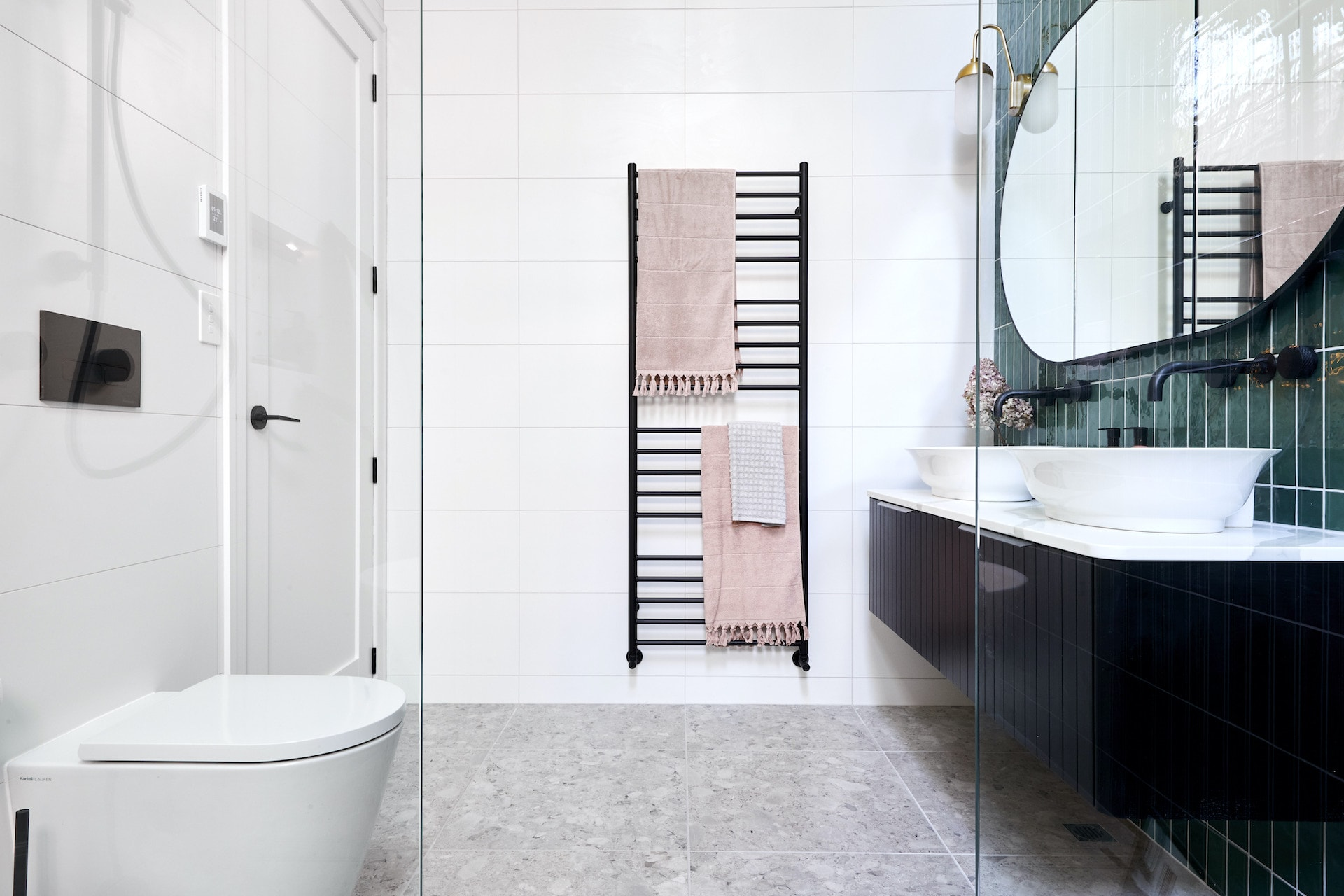 the block 2020 master ensuite harry and task floating black vanity with white tiles