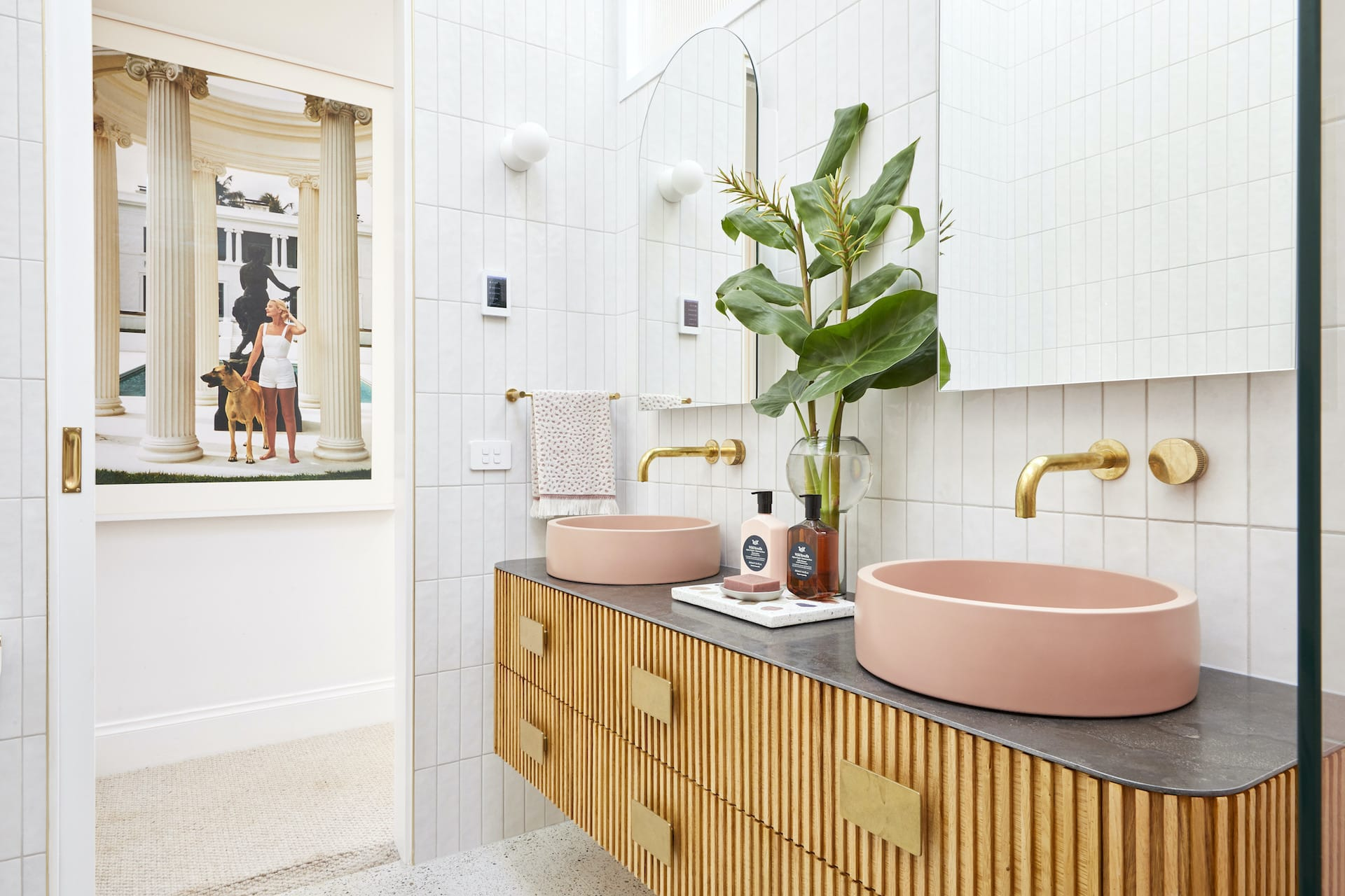 the block 2020 master ensuite jimmy and tam floating bathroom vanity warm timber