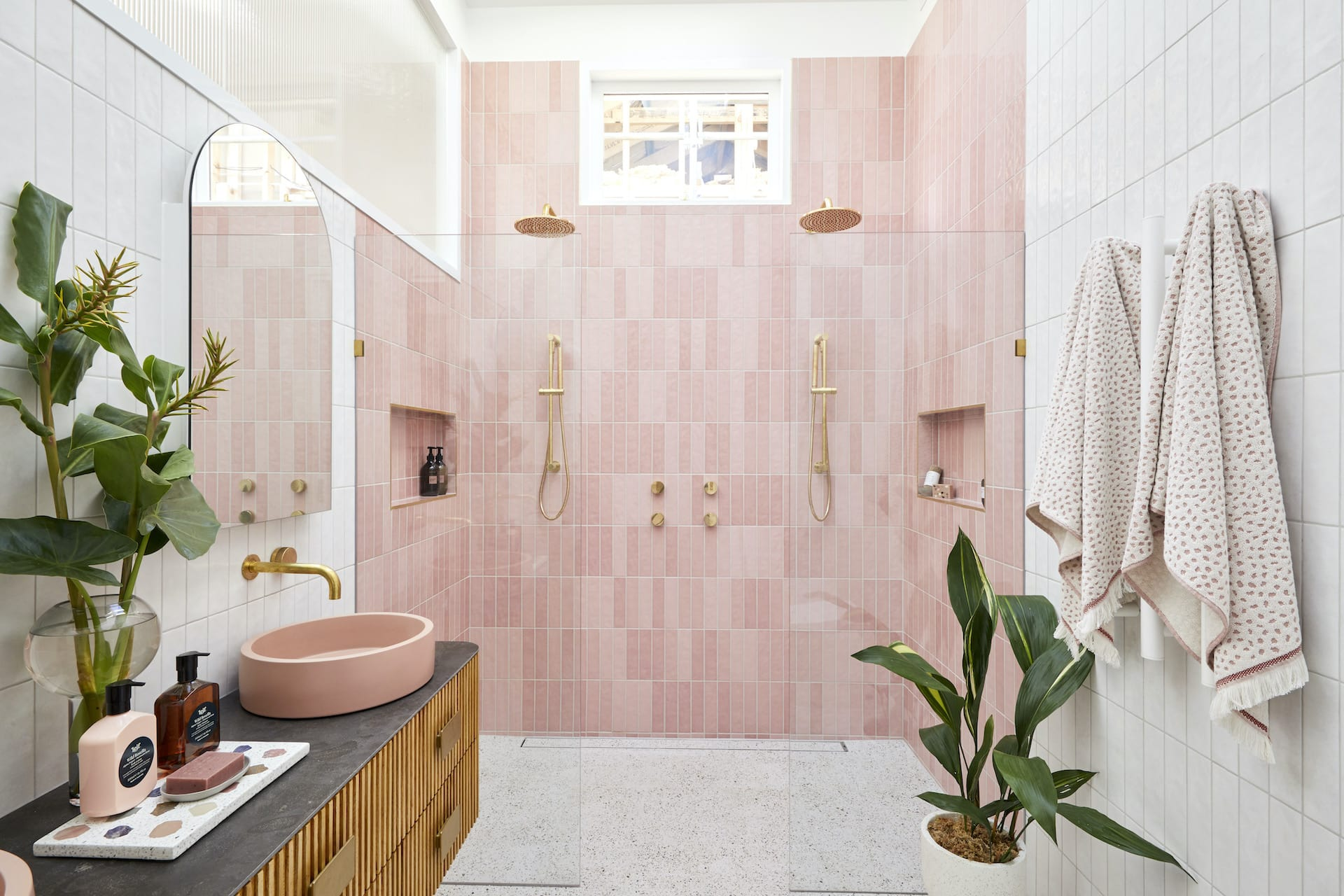 the block 2020 master ensuite jimmy and tam pink bathroom