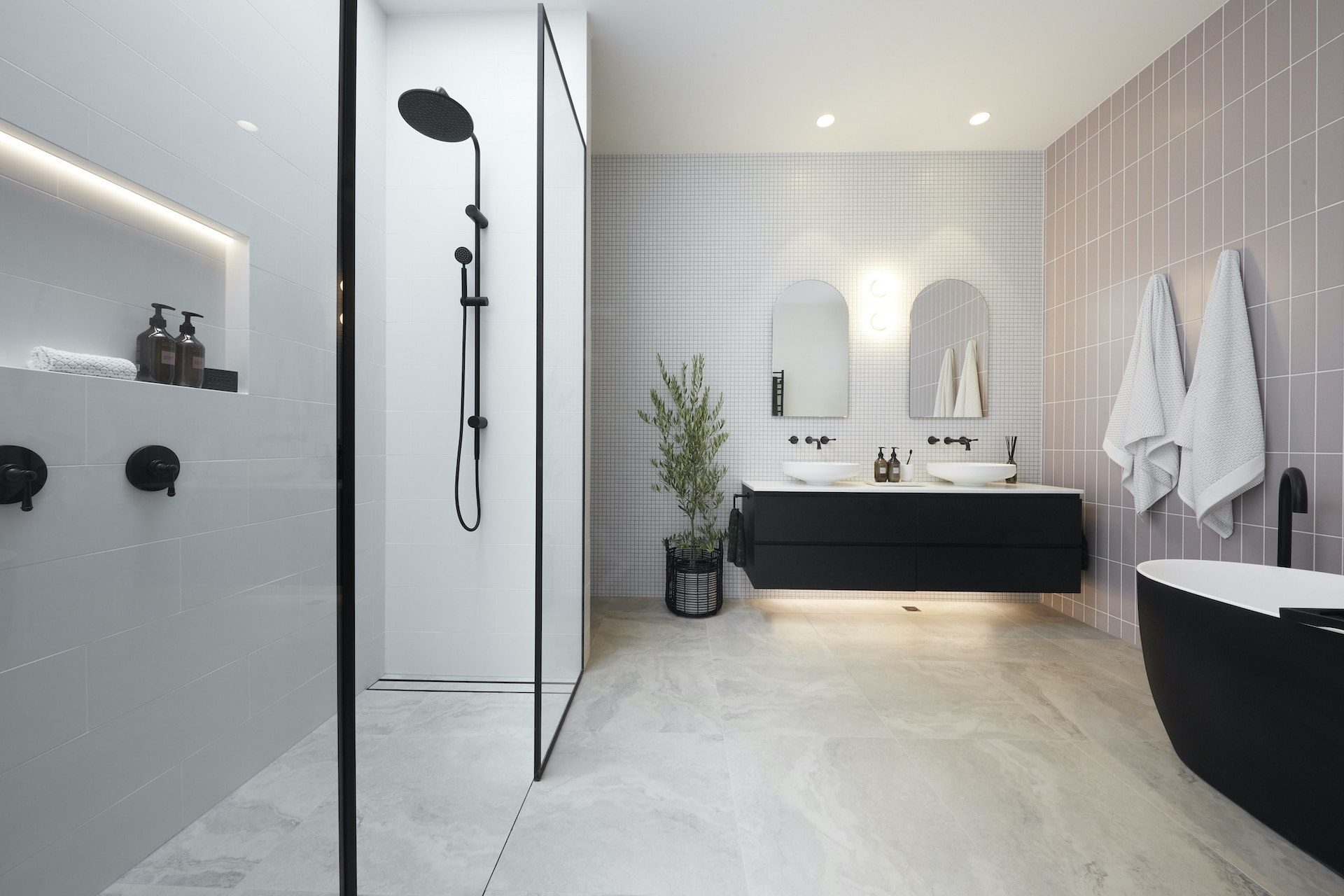 the block 2020 master ensuite sarah and george bathroom with light pink wall tiles