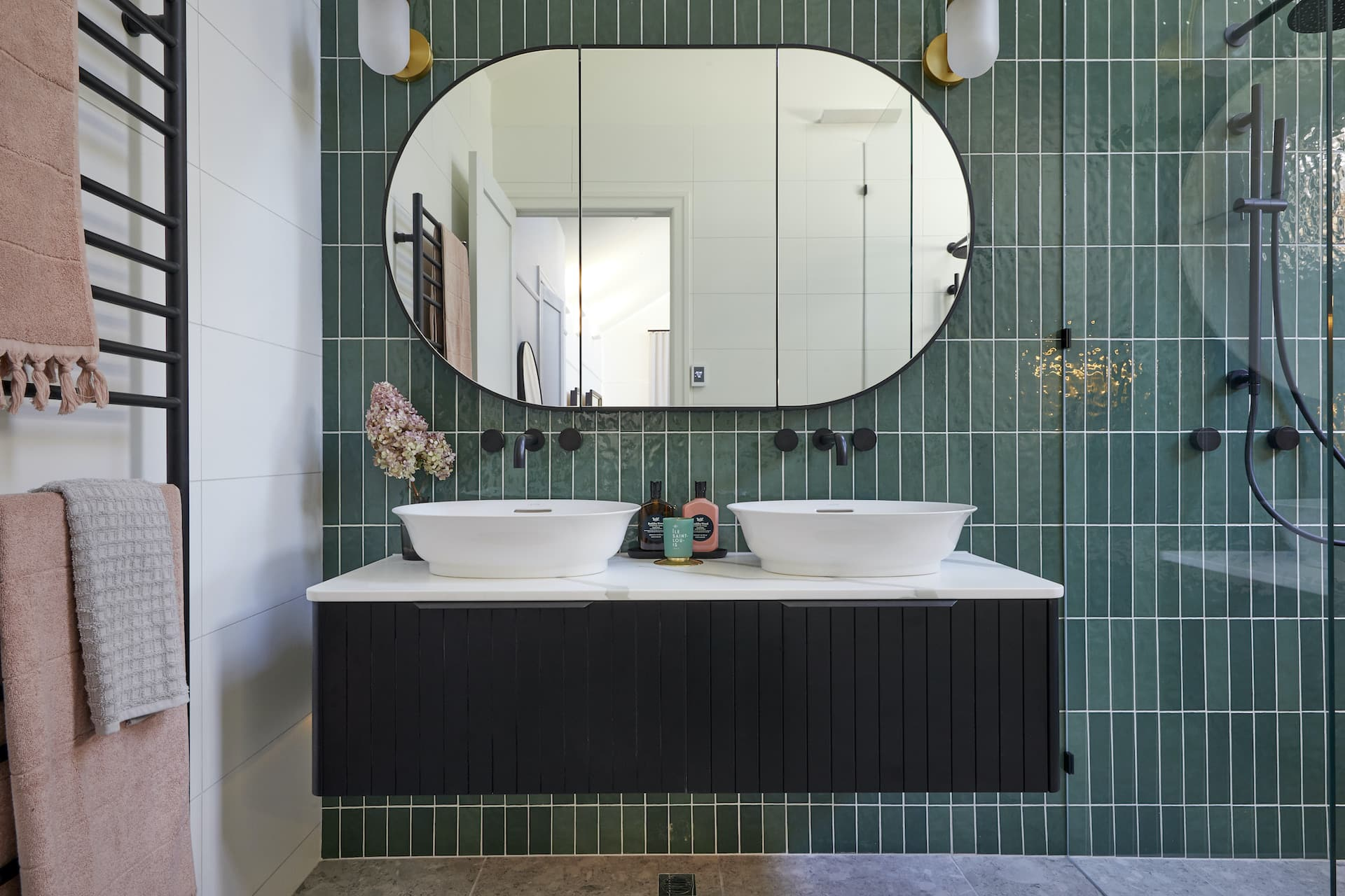 the block 2020 master ensuites harry and tash gloss green wall tiles