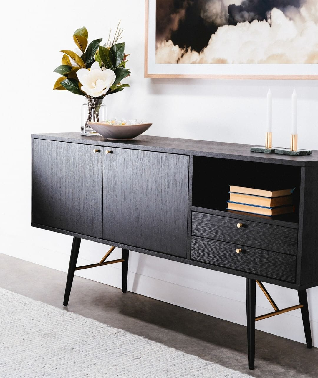 trent wooden buffet from interior secrets modern black sideboard with gold handles