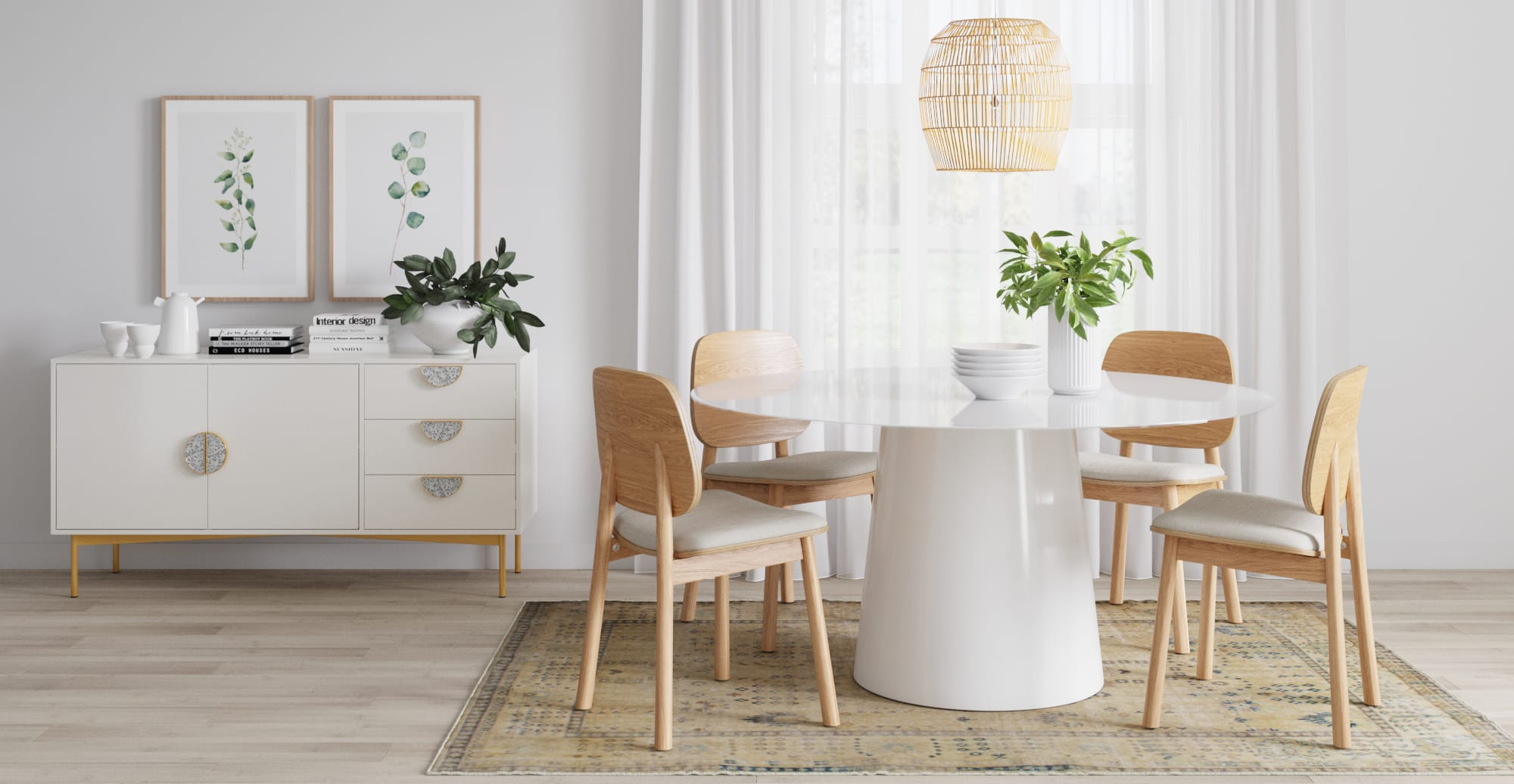 white minimalist dining room with round white dining table and light timber dining chairs
