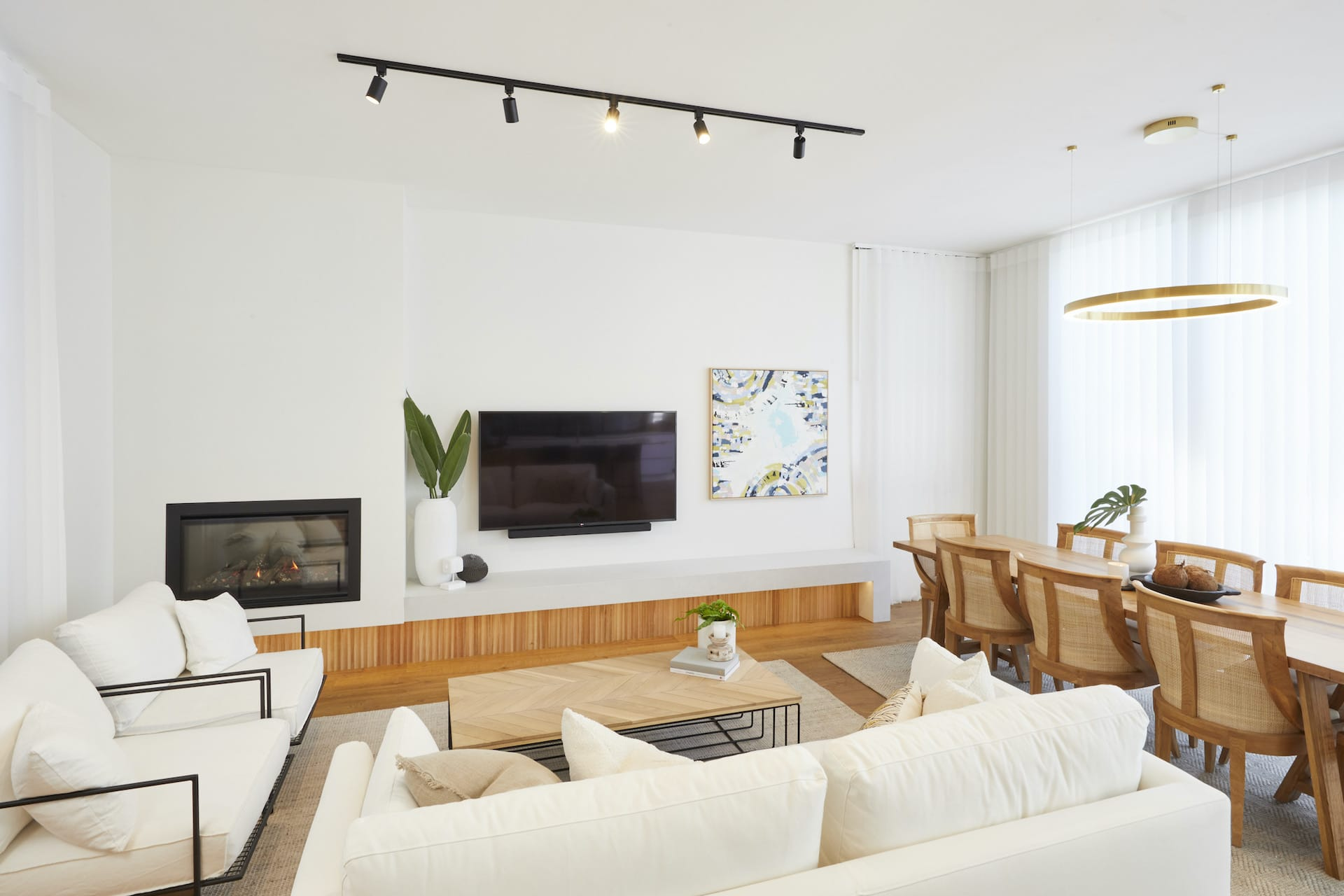 The Block 2020 Luke and Jasmin Living and Dining Room with white sofa