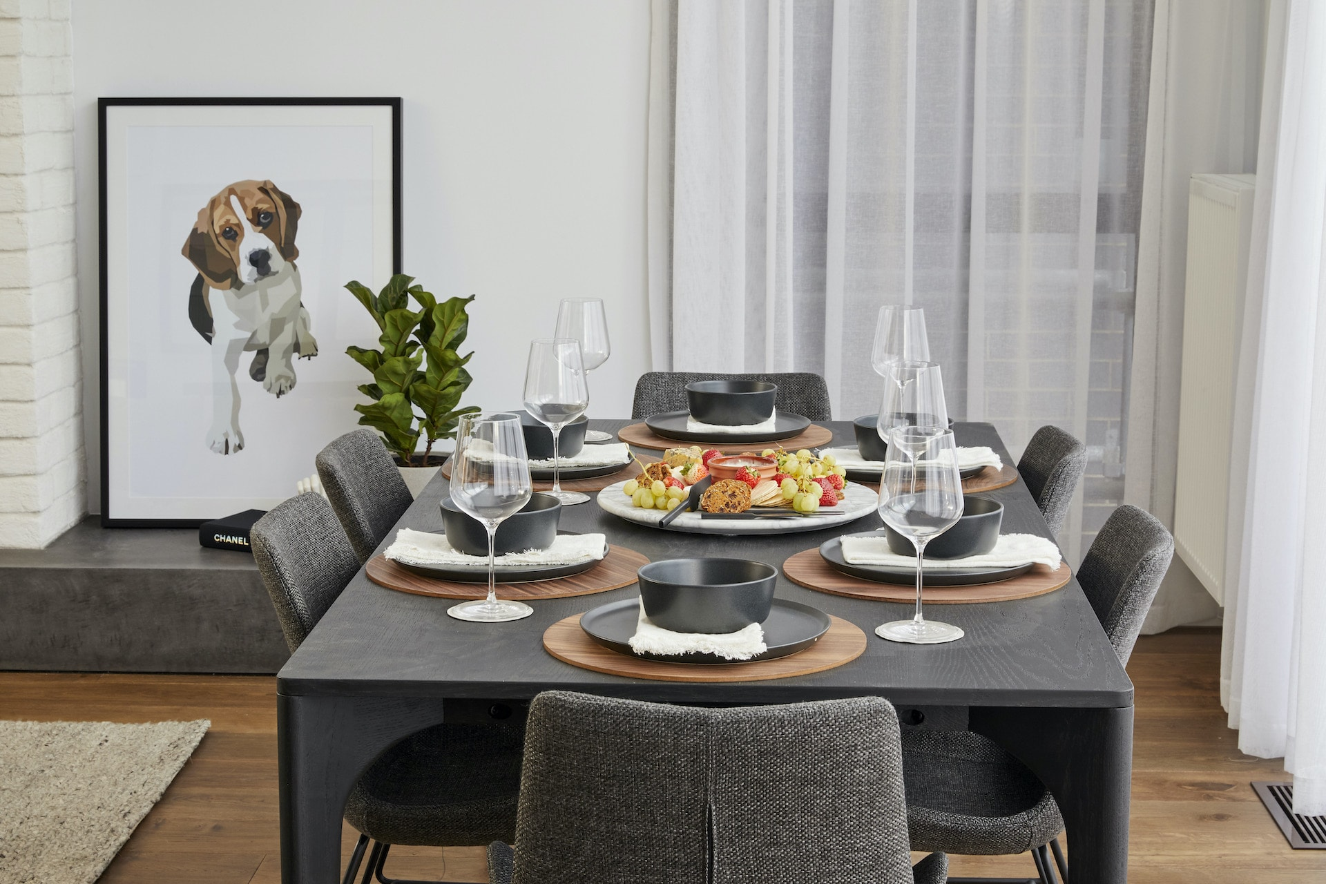 The Block 2020 Sarah and George dining room with dark brown table and grey upholstered chairs