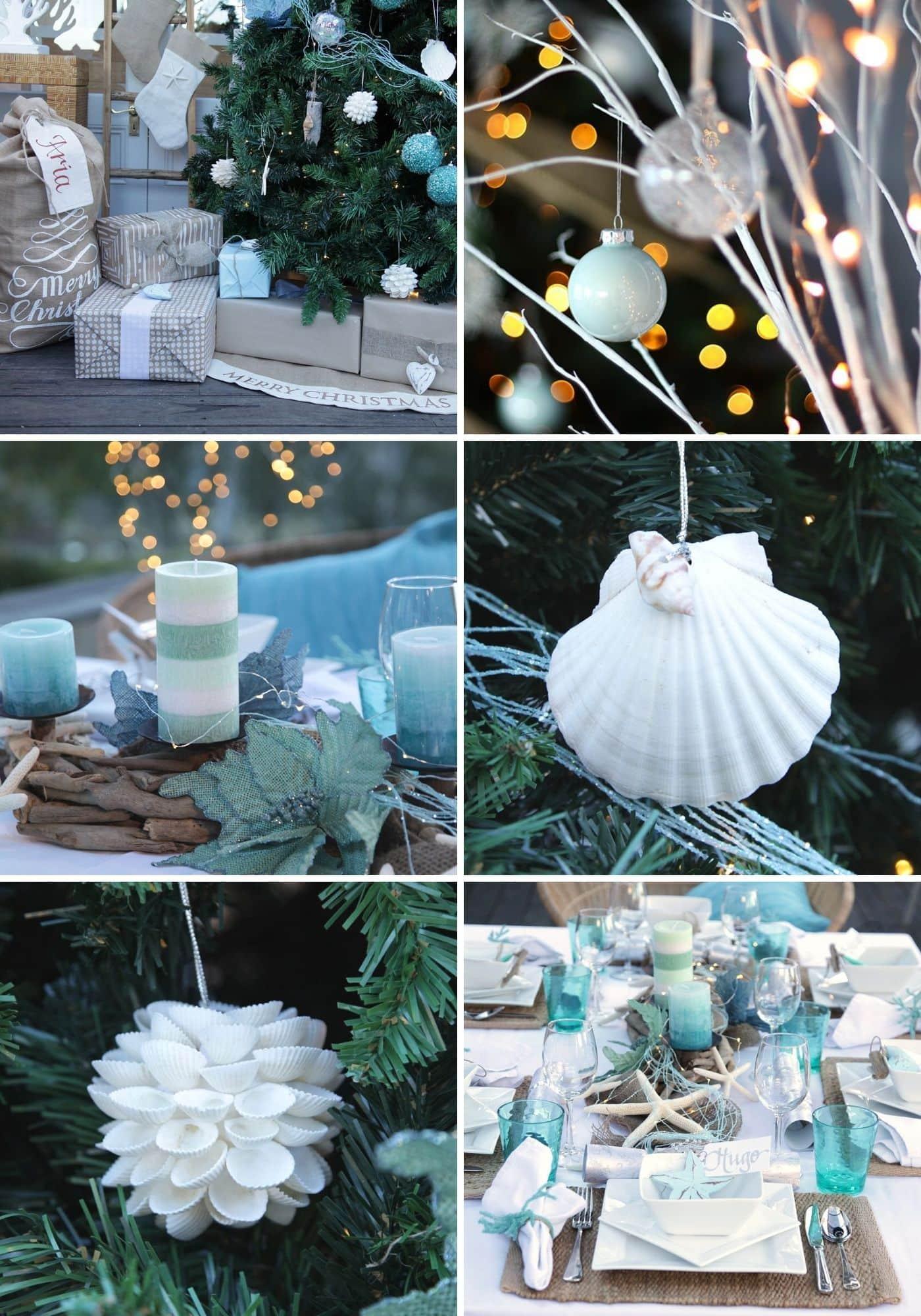 blue and white coastal christmas decorations