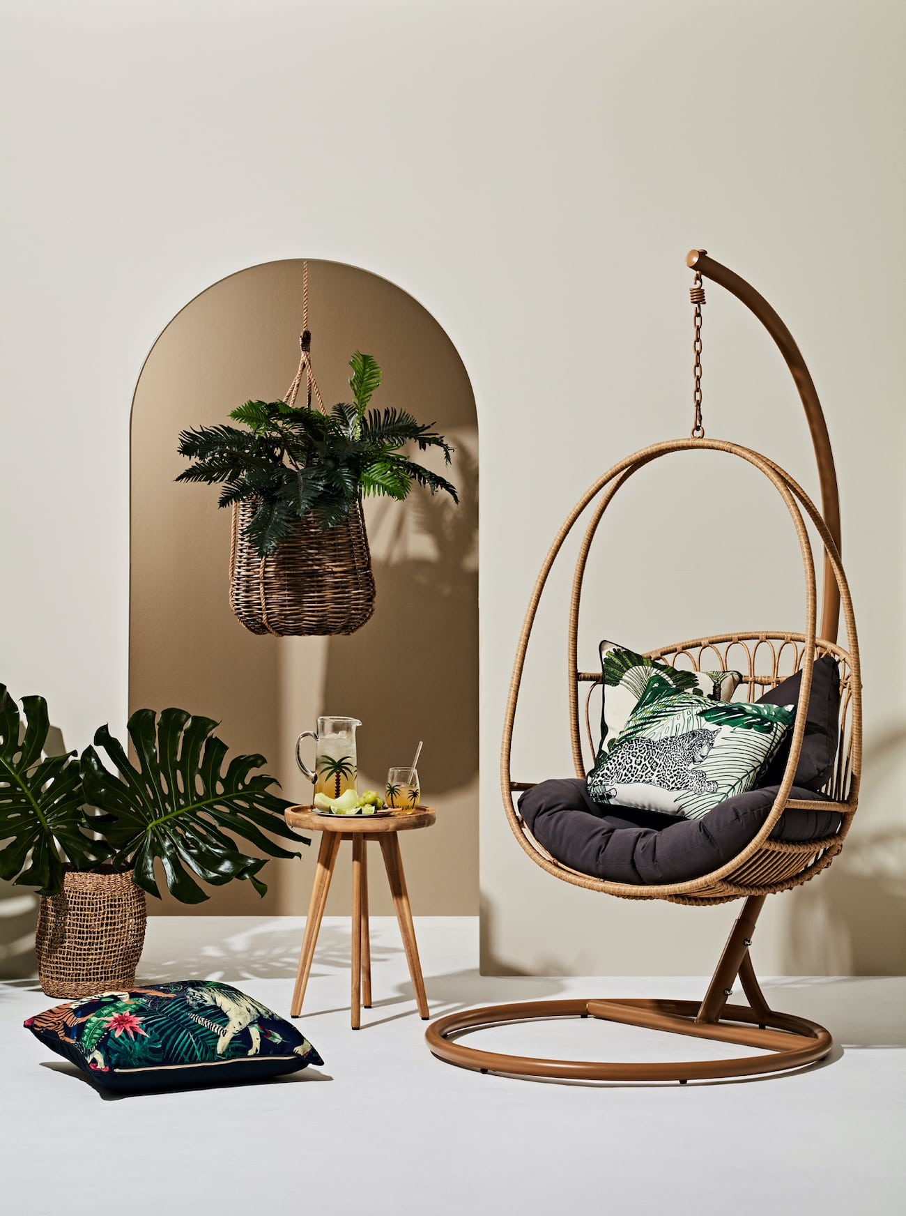 early settler byron hanging chair wicker egg chair with cushion