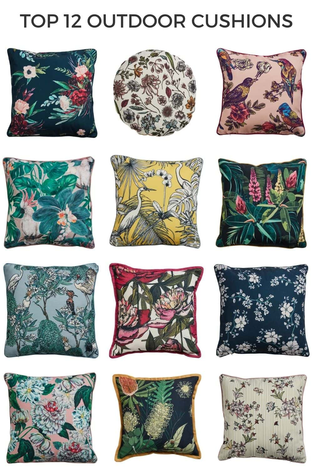 early settler colourful outdoor cushions with tropical patterns