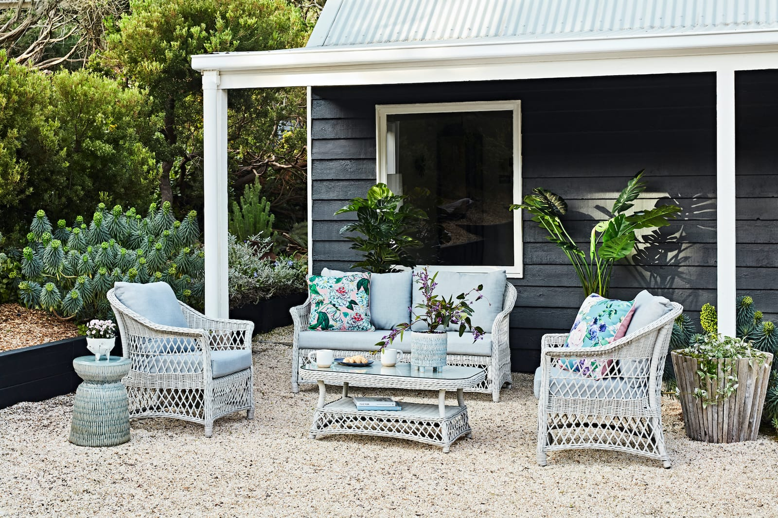 early settler french provincial outdoor wicker furniture white lounge suite with grey cushions
