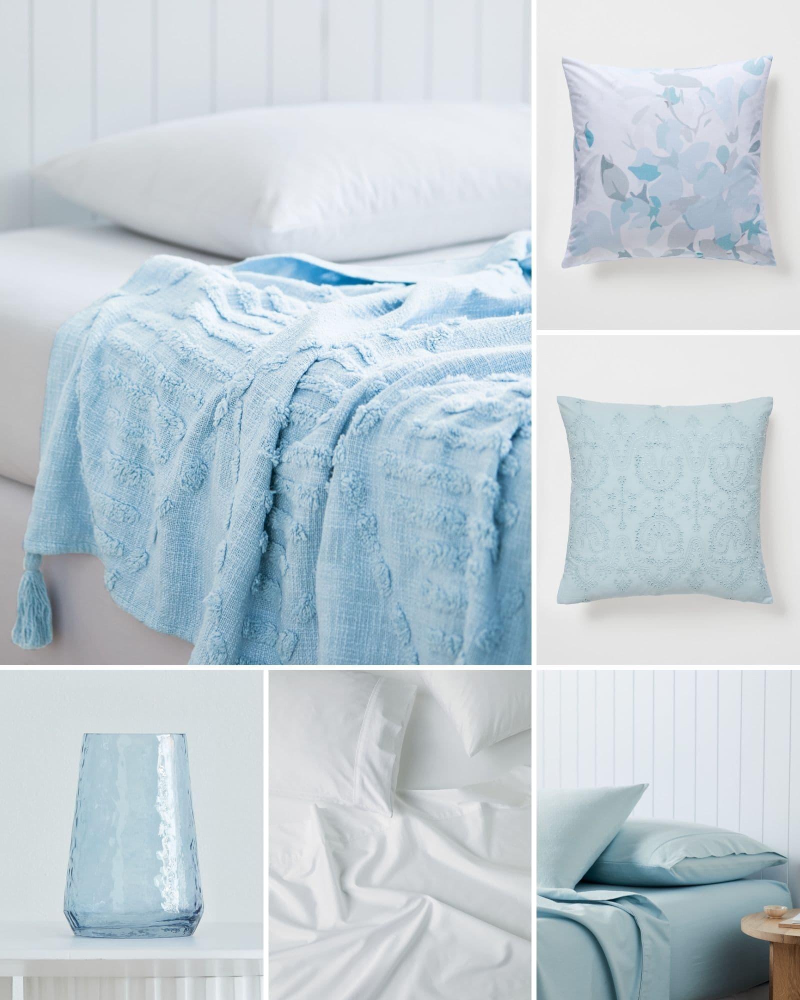 light blue bedding and home decor mood board neutral tones lorraine lea