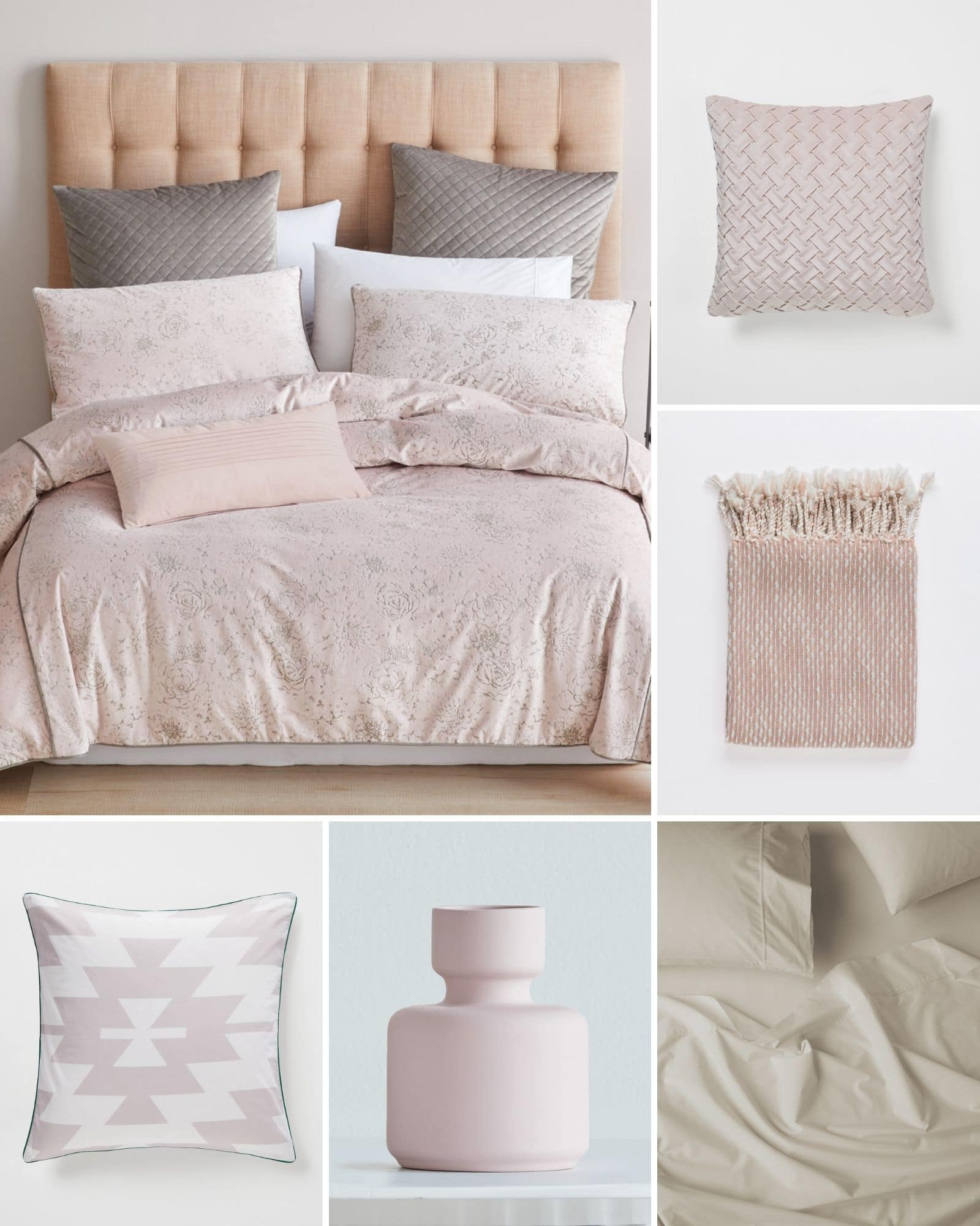 light pink home decor mood board lorraine lea pink quilt cover set