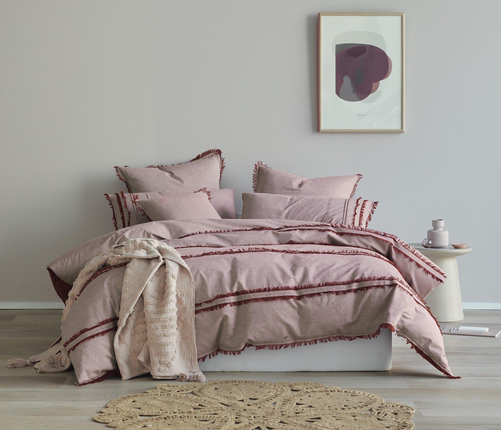 lorraine lea st moritz quitl cover set dark pink with red trim bedding