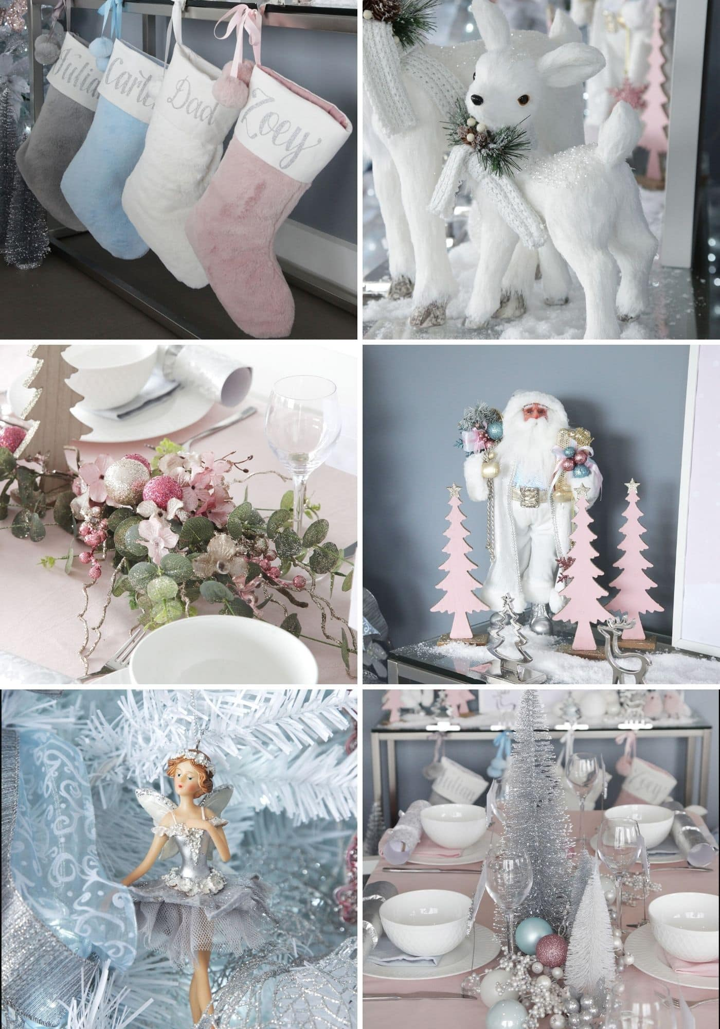 silver pink and blue christmas decorations