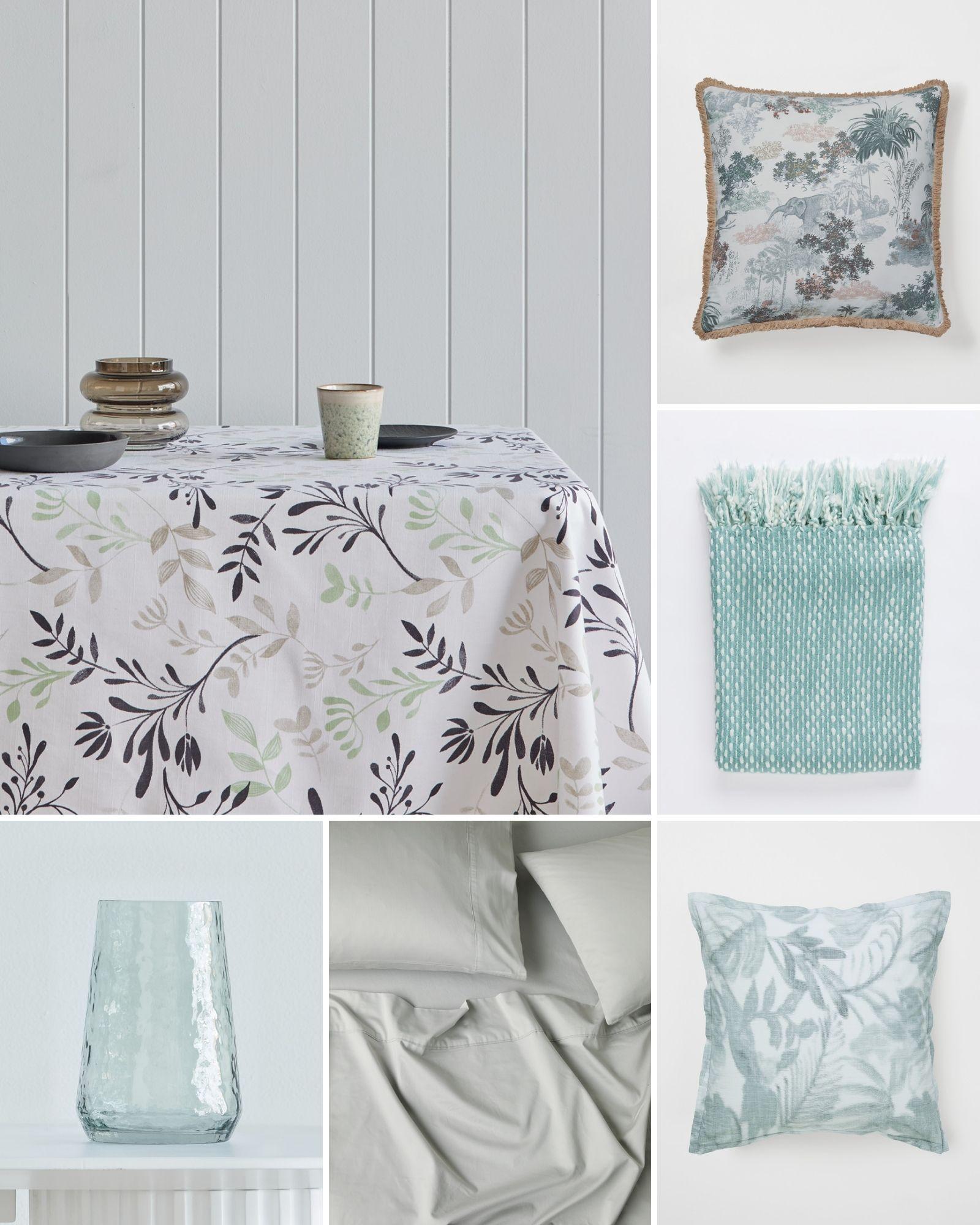 soft green bedding interior decorating mood board