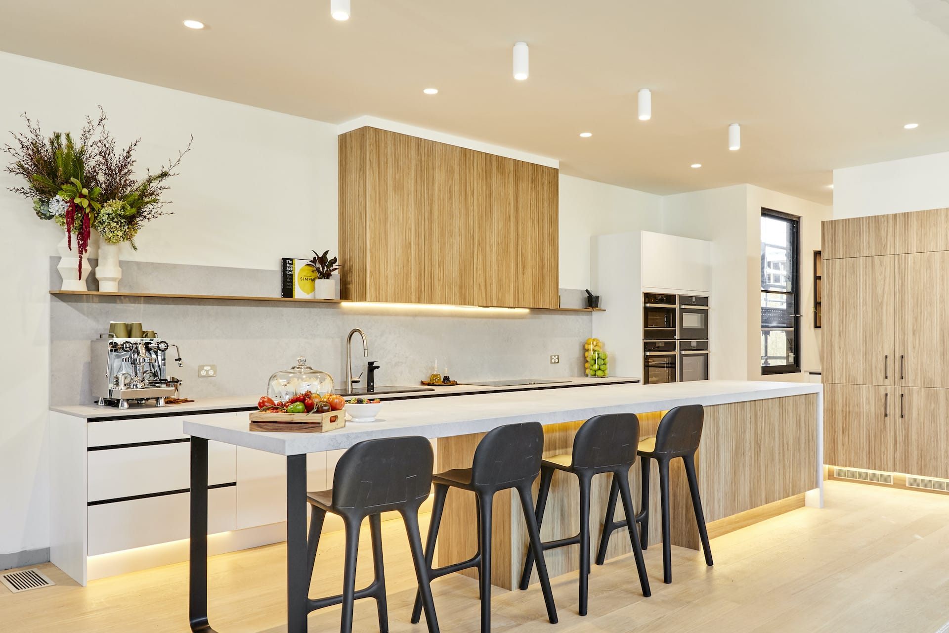 the block 2020 Harry and Tash Kitchen with concrete benchtop and light timber cabinets