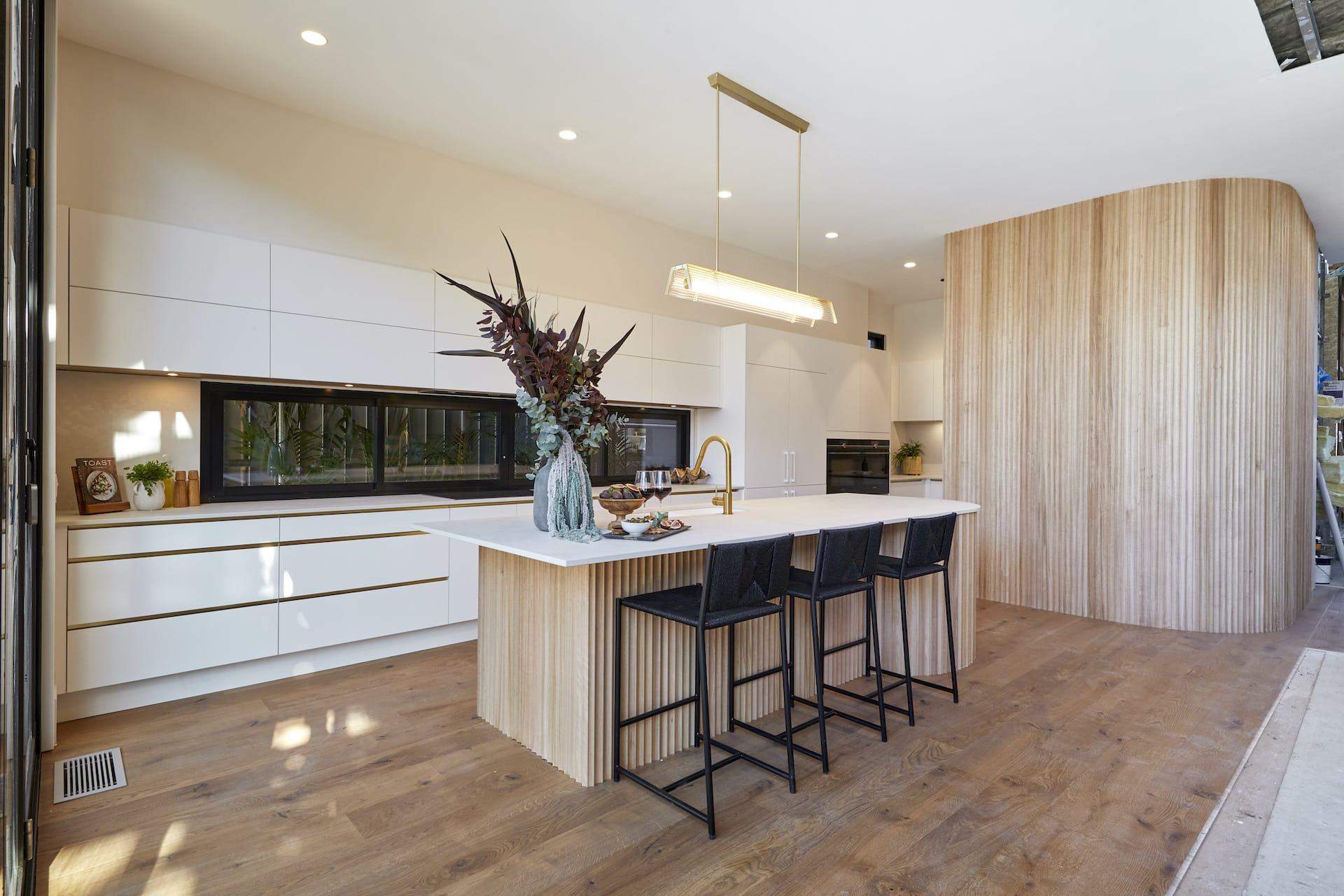 the block 2020 Luke and Jasmin Kitchen with corrugated kitchen cupboards