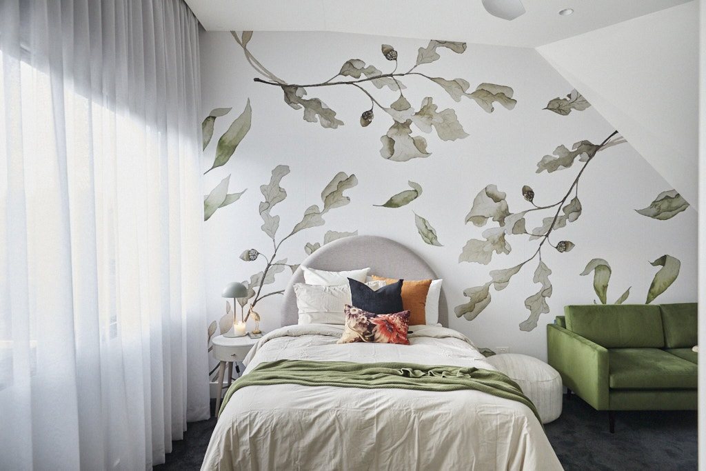 the block 2020 harry and tash upstairs bedroom with green leaf wallpaper