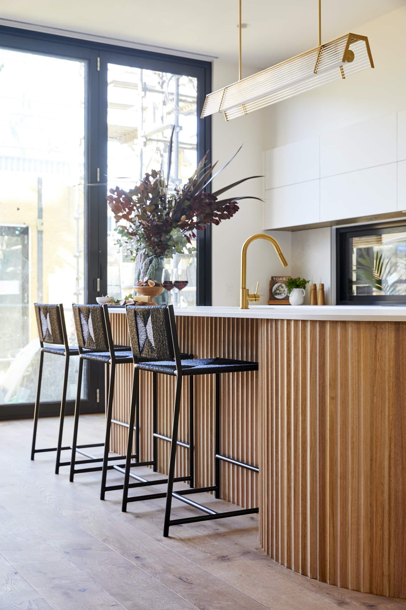 the block 2020 kitchens luke and jasmin curved timber island bench