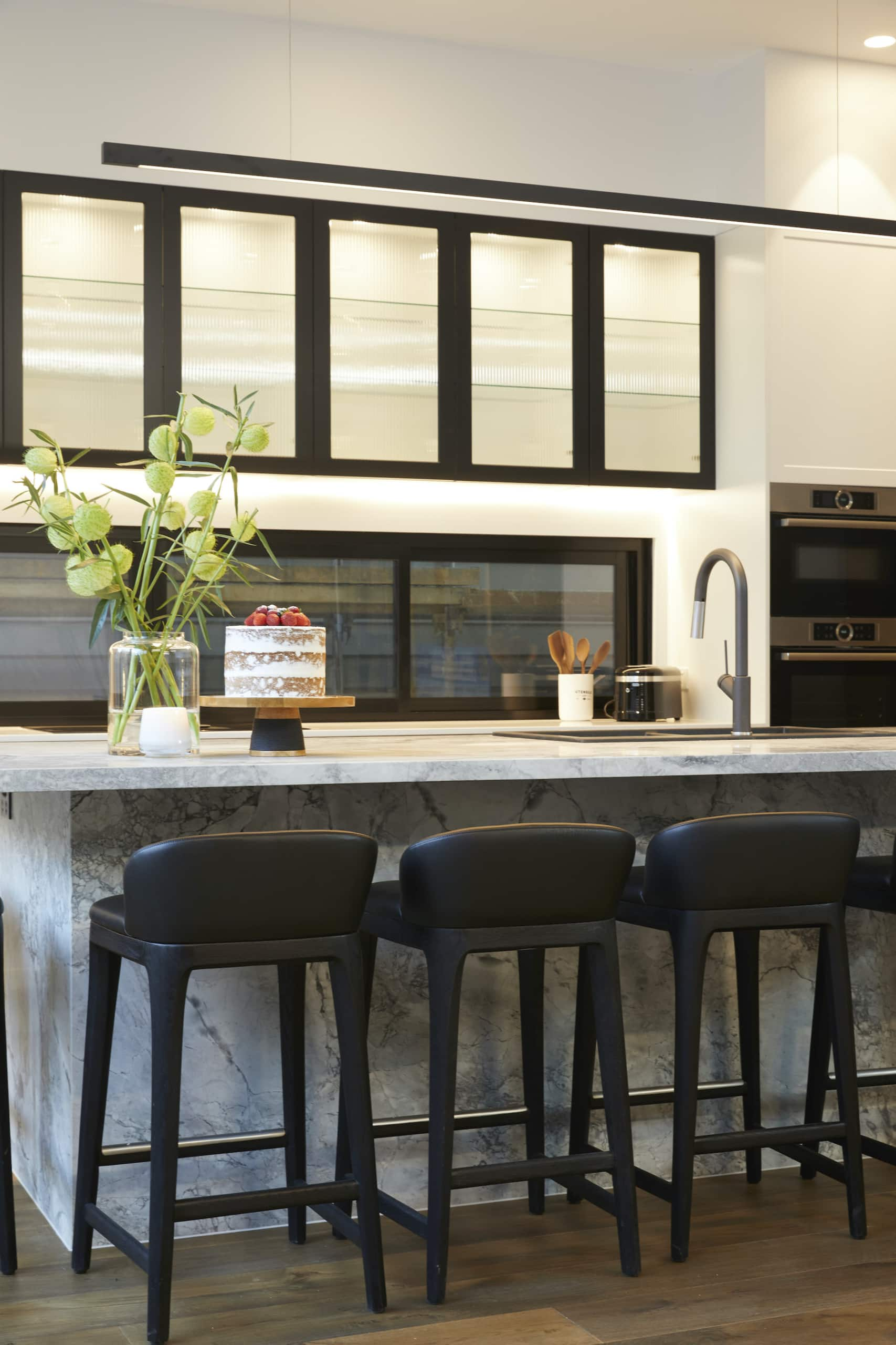 the block 2020 kitchens sarah and george dark kitchen with black stools