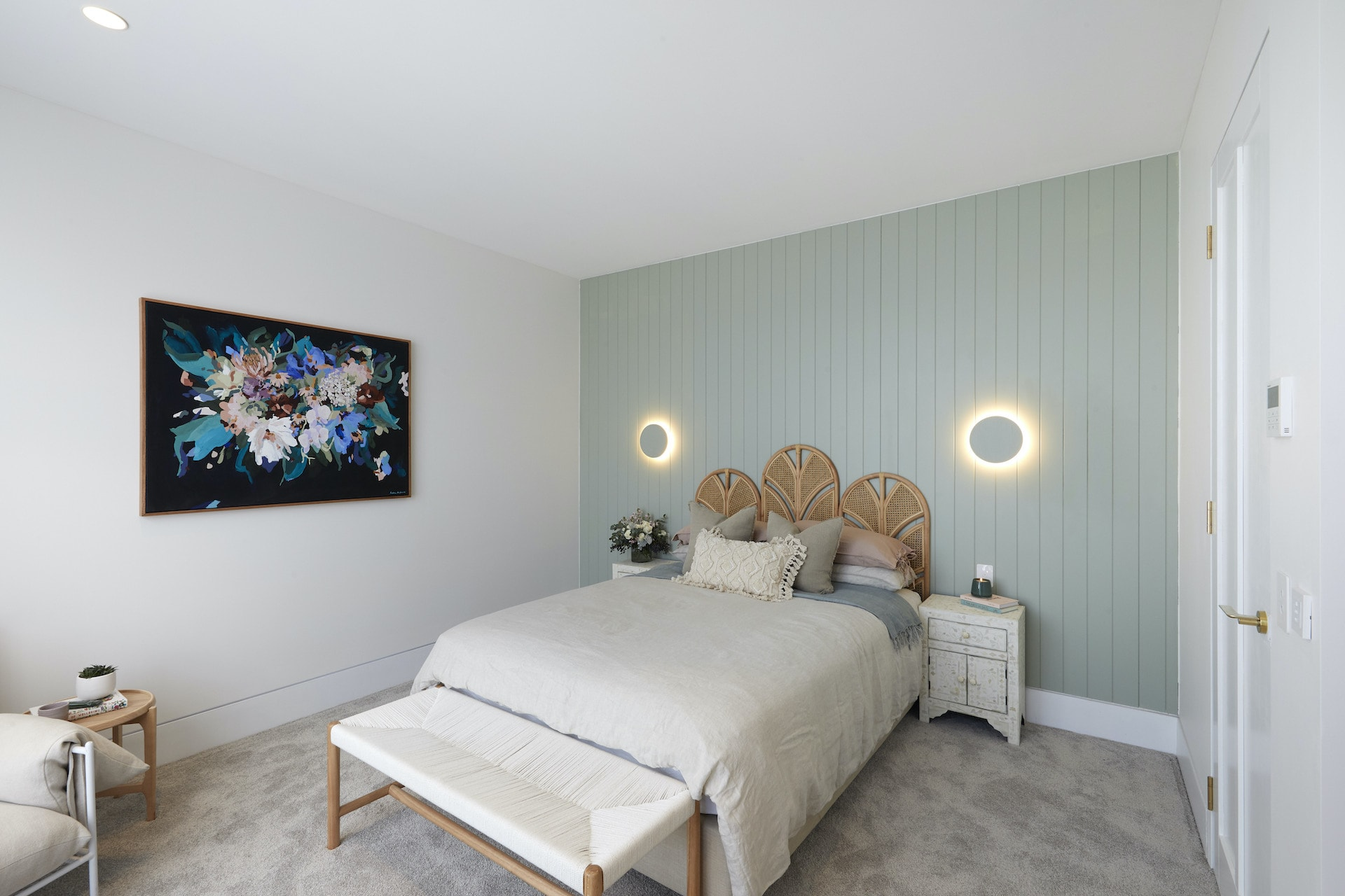 the block 2020 luke and jasmin guest bedroom with sage green vj panelling