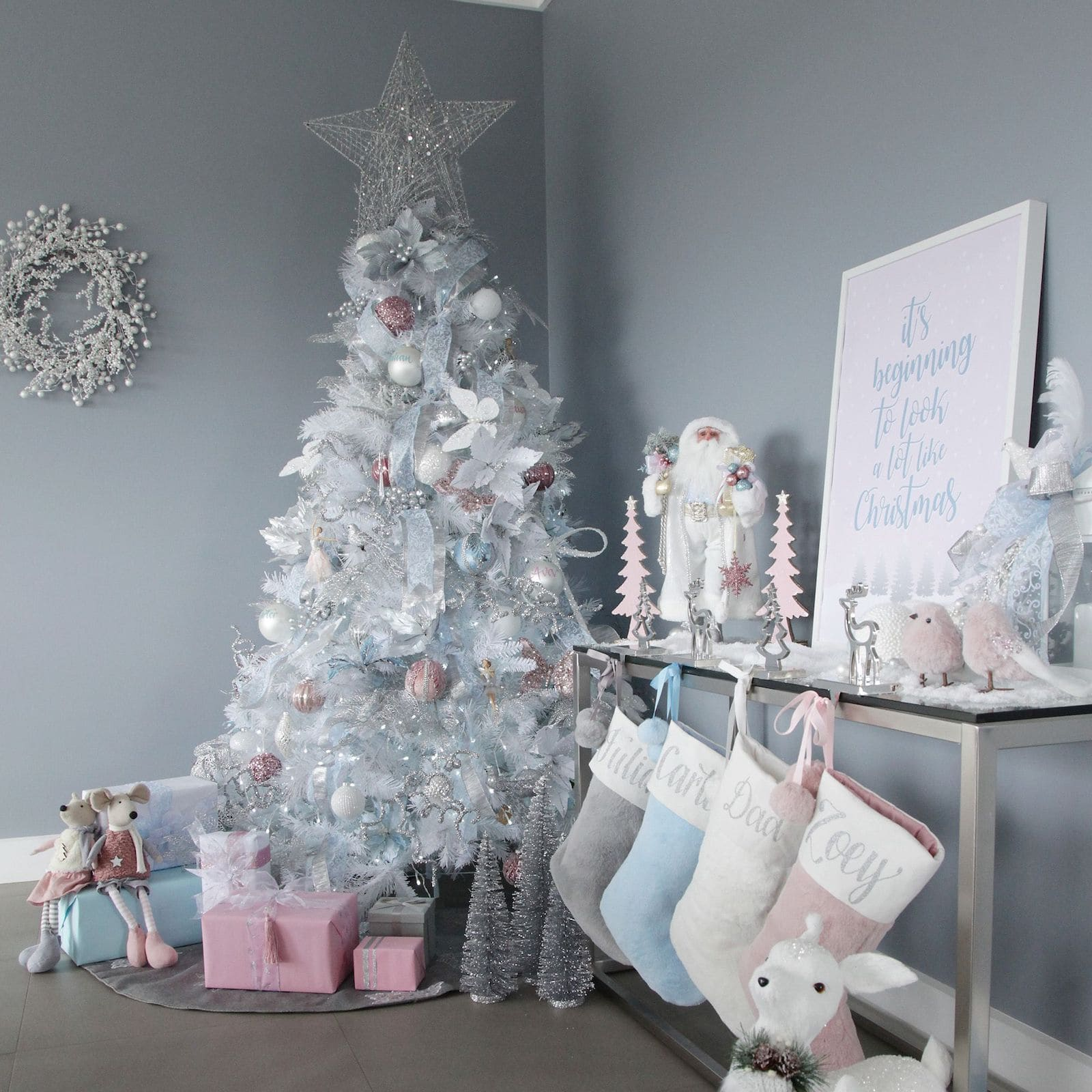 white pink and blue christmas tree styling ideas