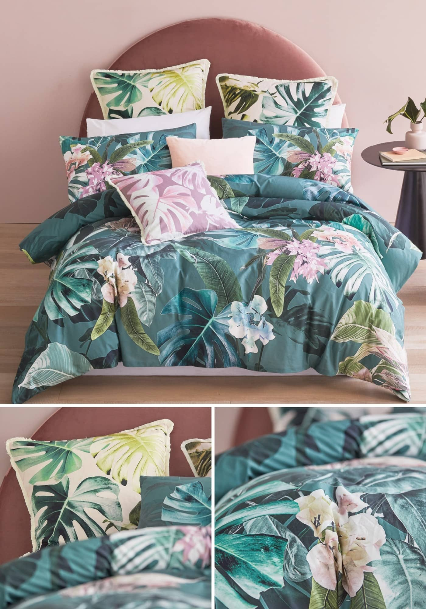 leilani tropical green and pink quilt cover set lorraine lea