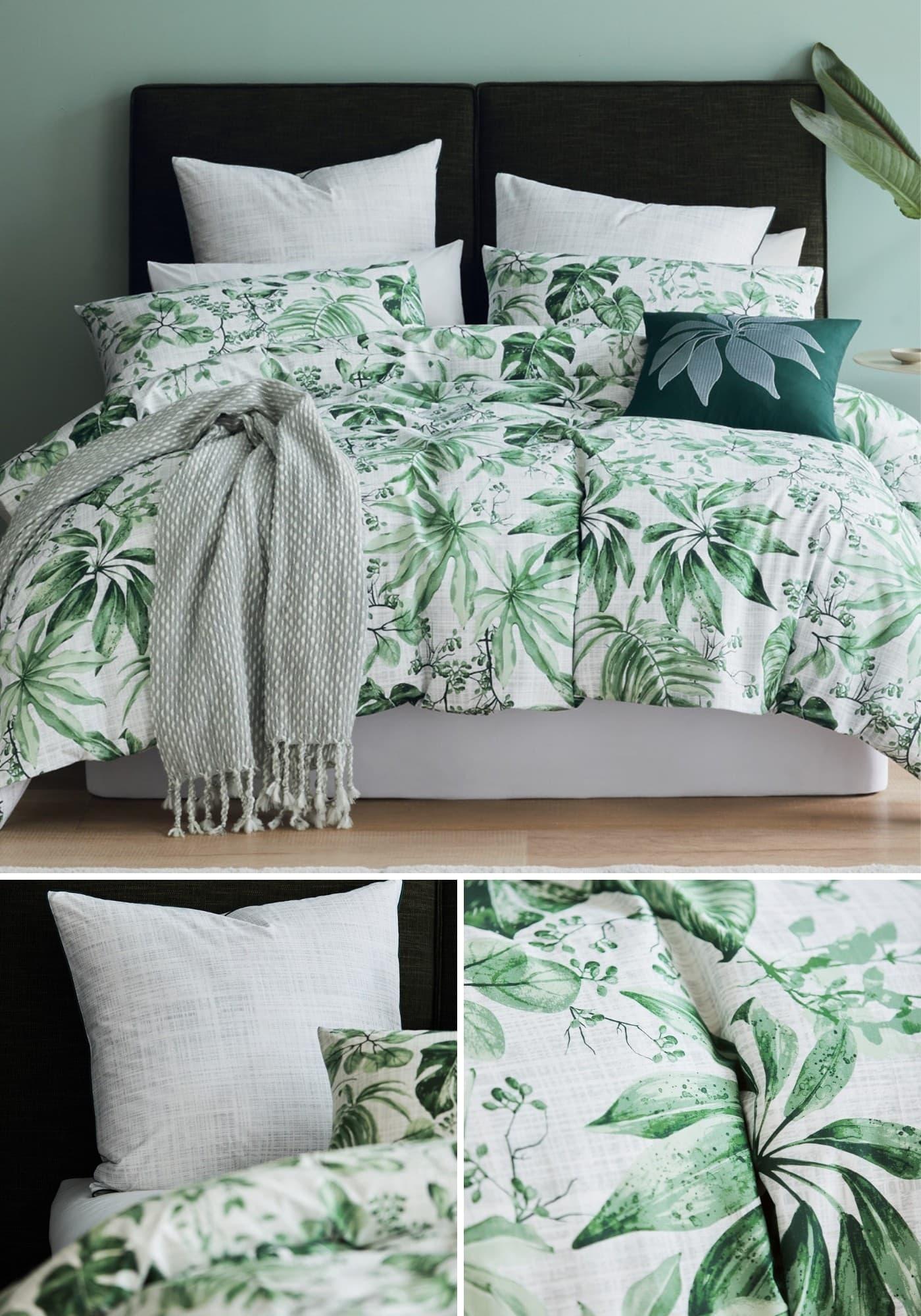 lorraine lea vila tropical green and white quilt cover set
