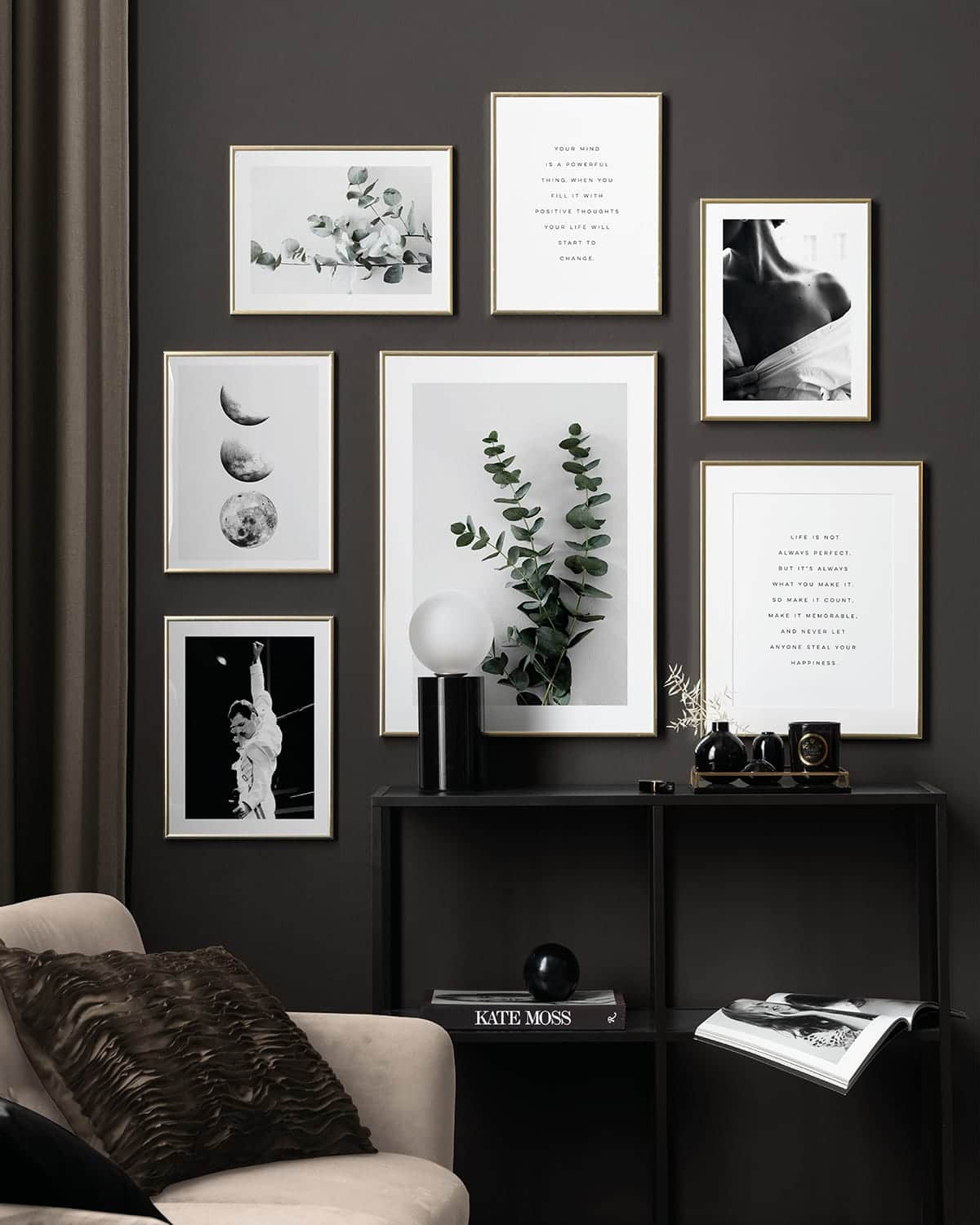 charcoal grey feature wall with gallery wall of art prints from desenio
