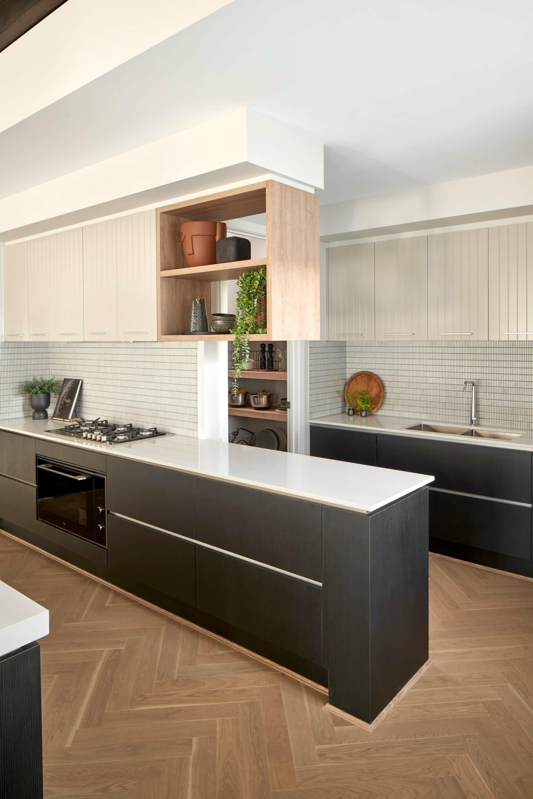 metricon kitchen with dark brown lower cabinets and light brown upper cabinets organic kitchen design
