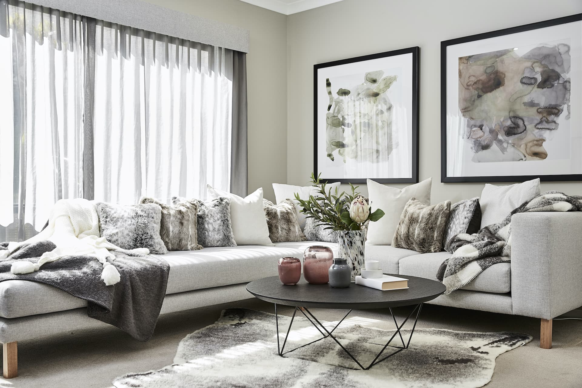 sofa styling with scatter cushion combinations faux fur throw pillows