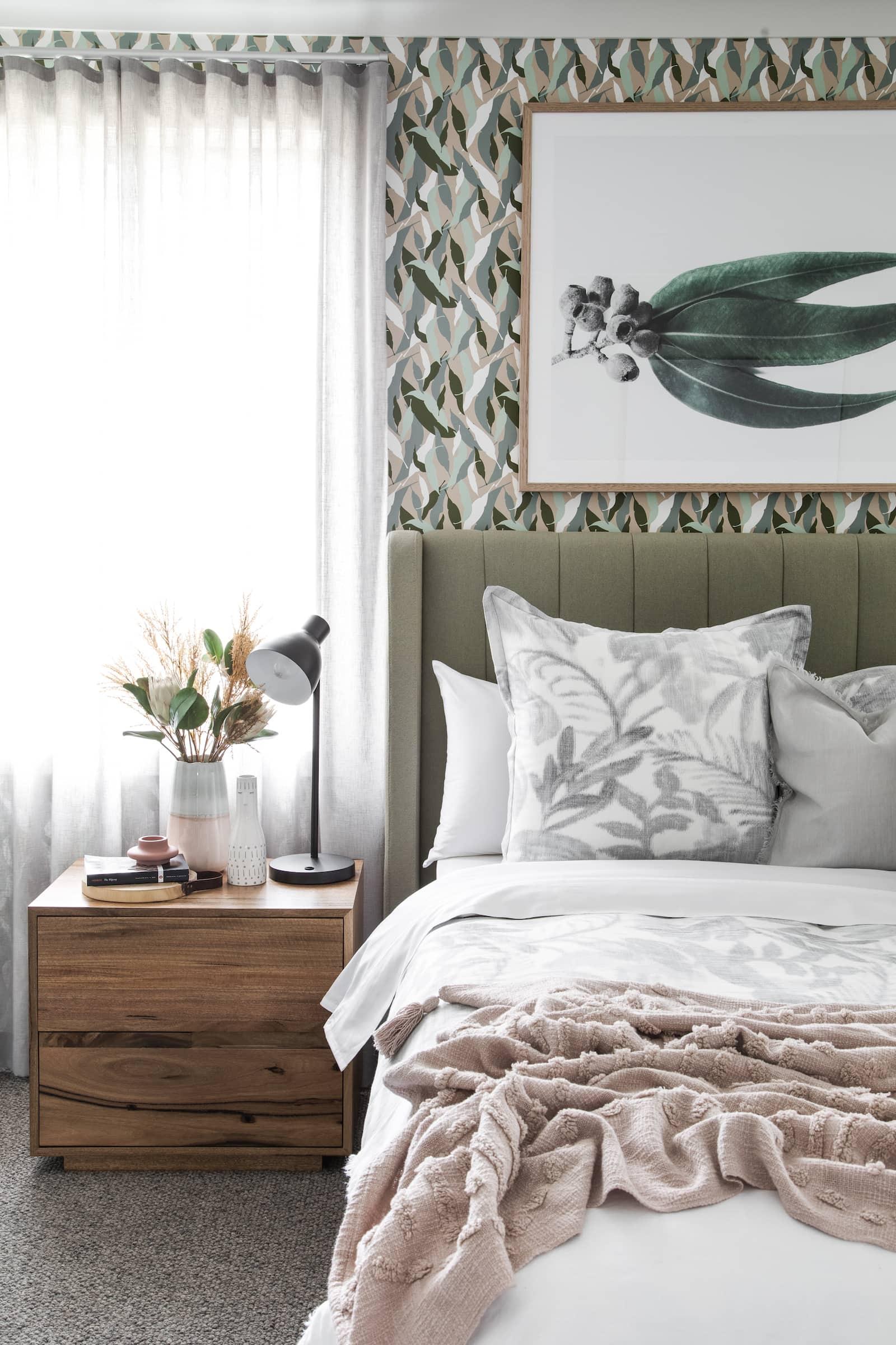 australiana bedroom design with eucalyptus wall art and wallpaper