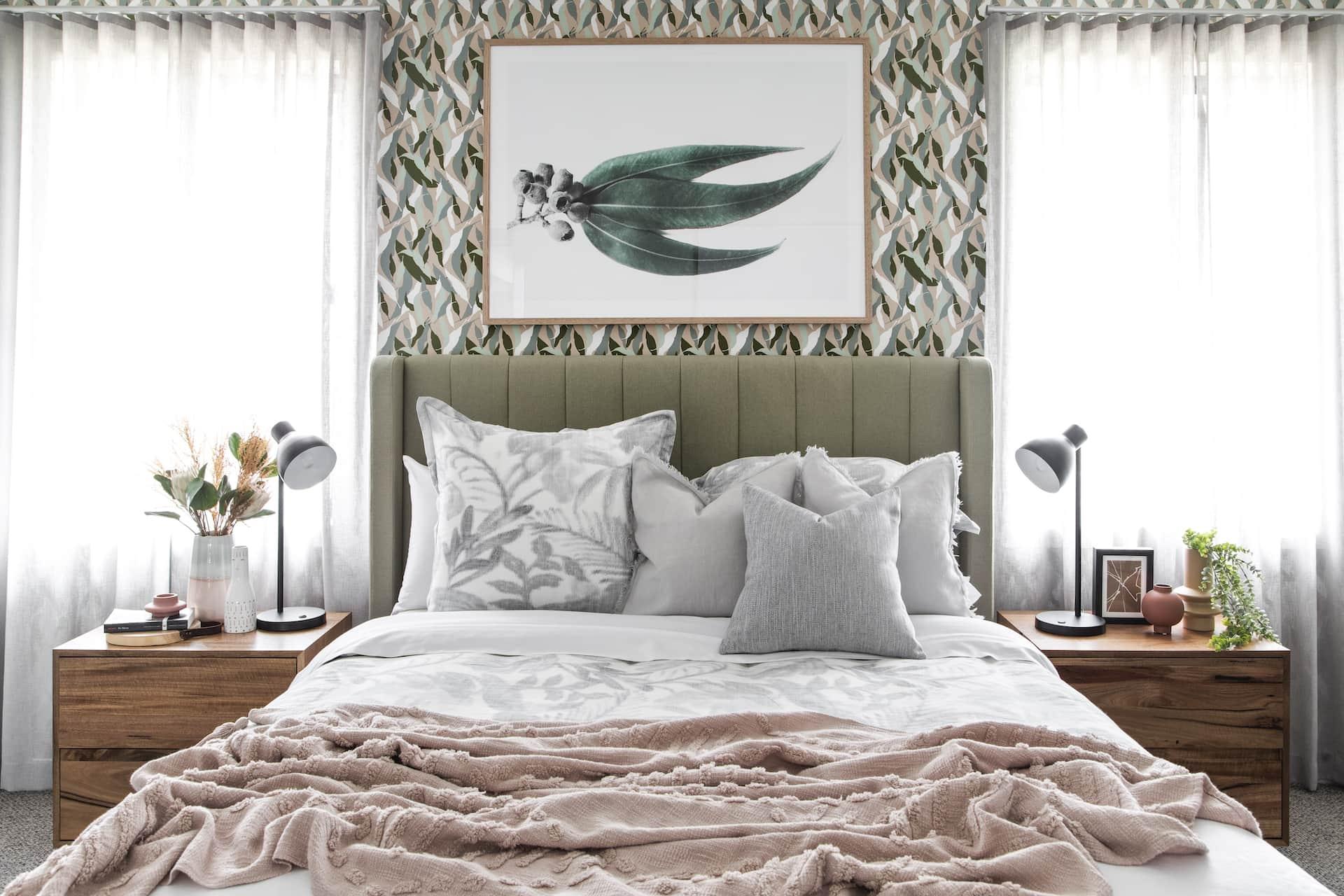 sage green bedroom with pink accents australiana interior design eucalyptus wallpaper