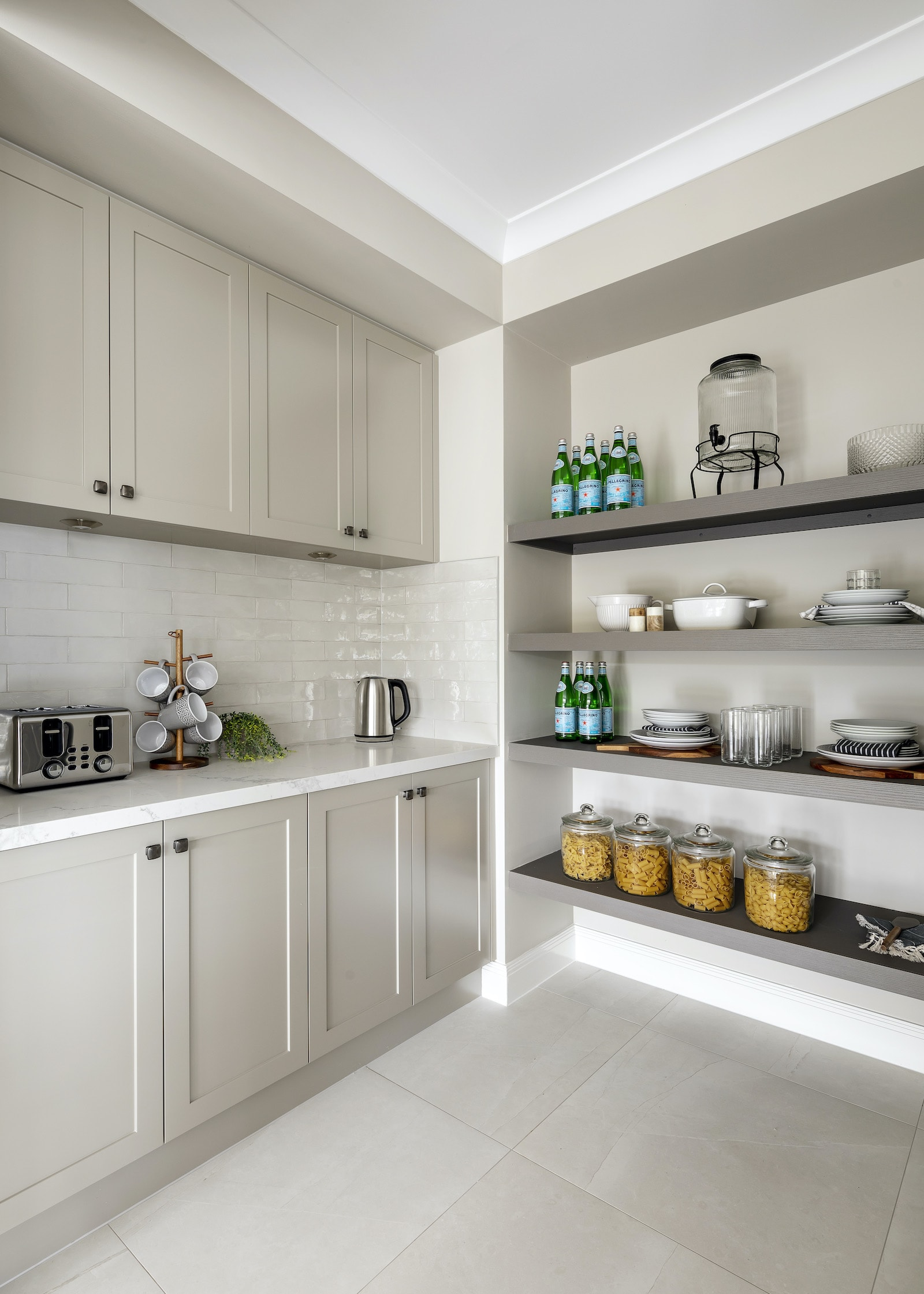 butlers pantry with light grey shaker cabinets and open shelving