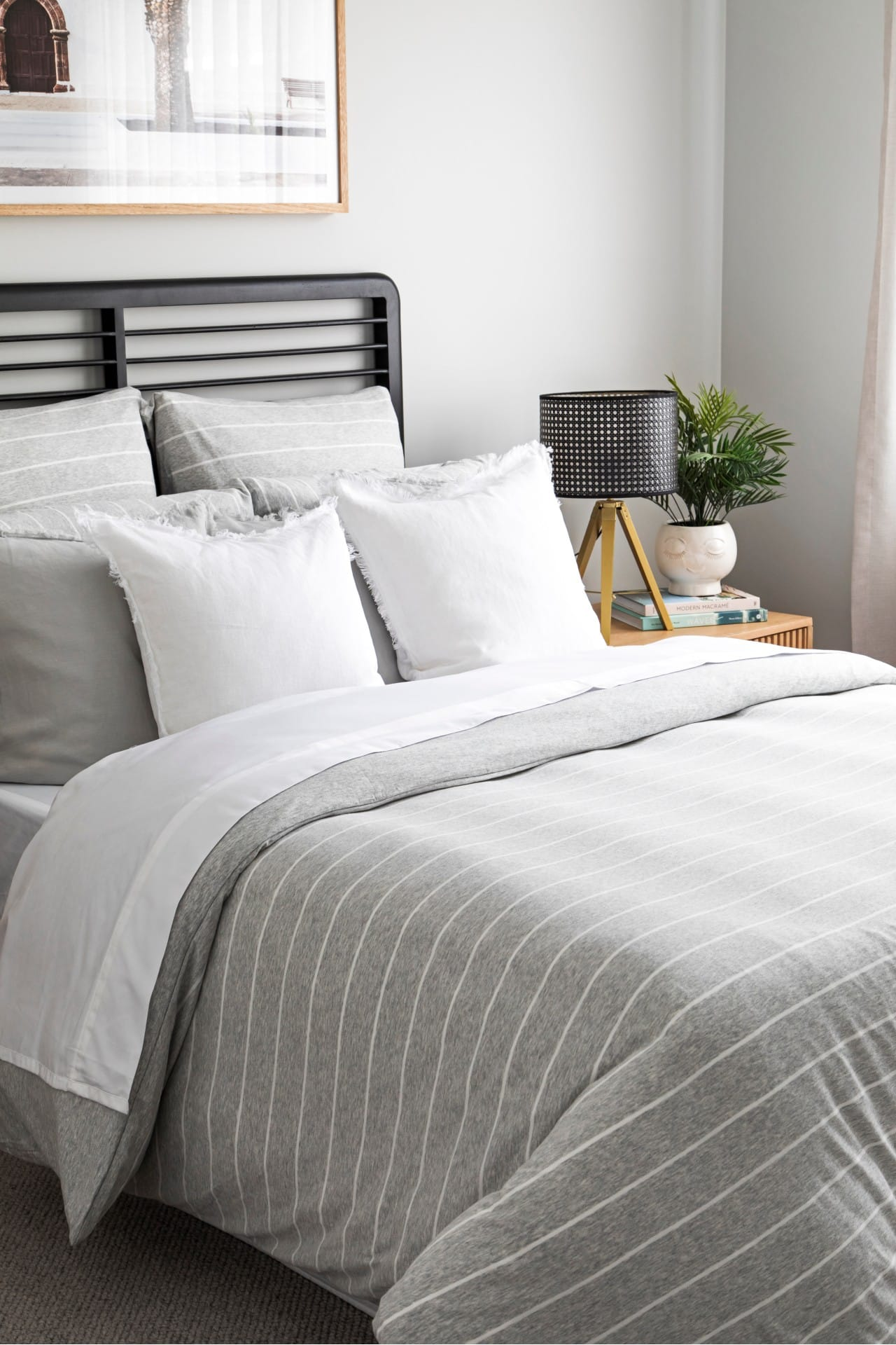 lorraine lea henley jersey bedding grey and white stripe quilt cover set in neutral bedroom