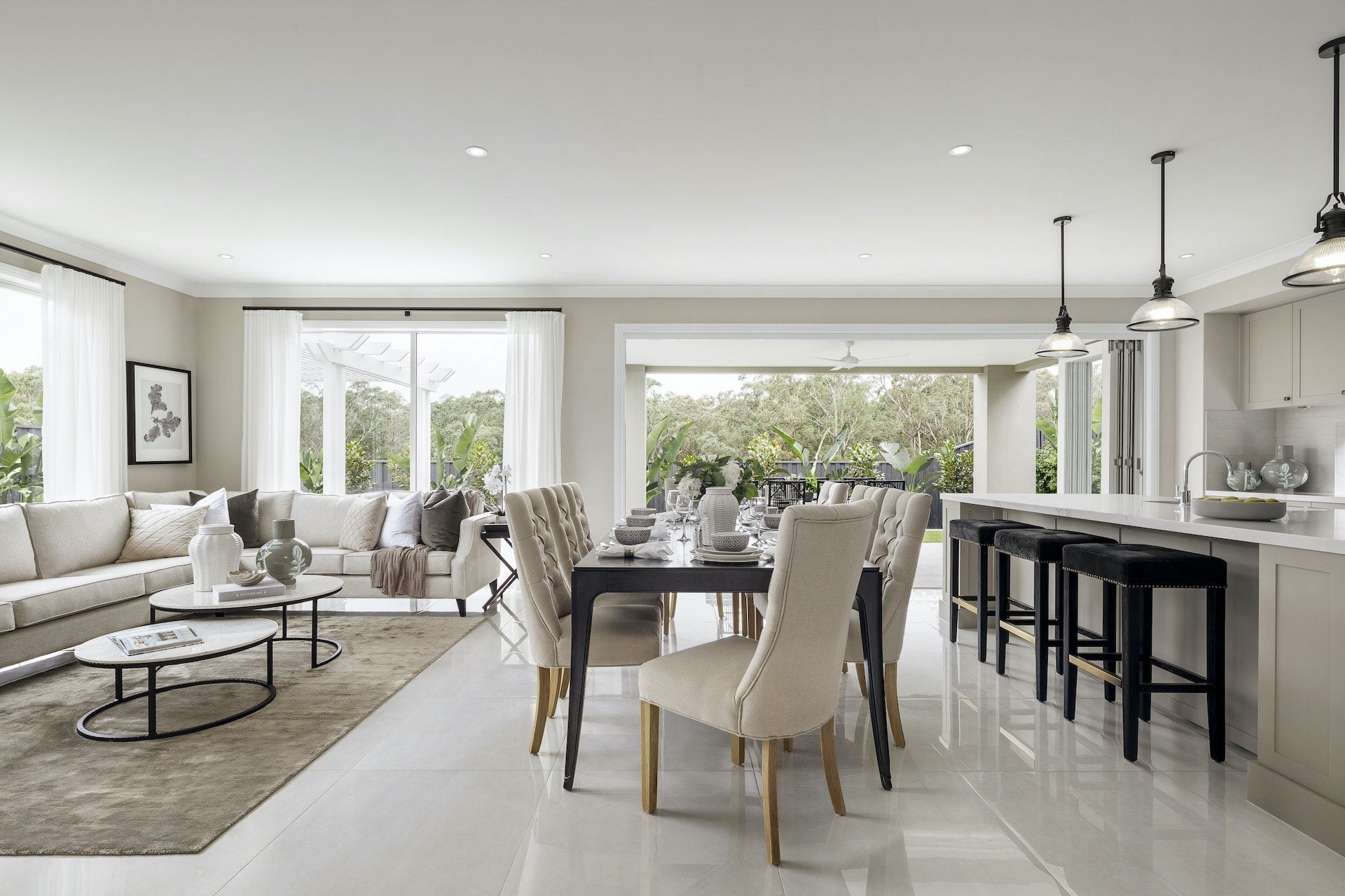 modern provincial interior design open plan living dining kitchen white and grey