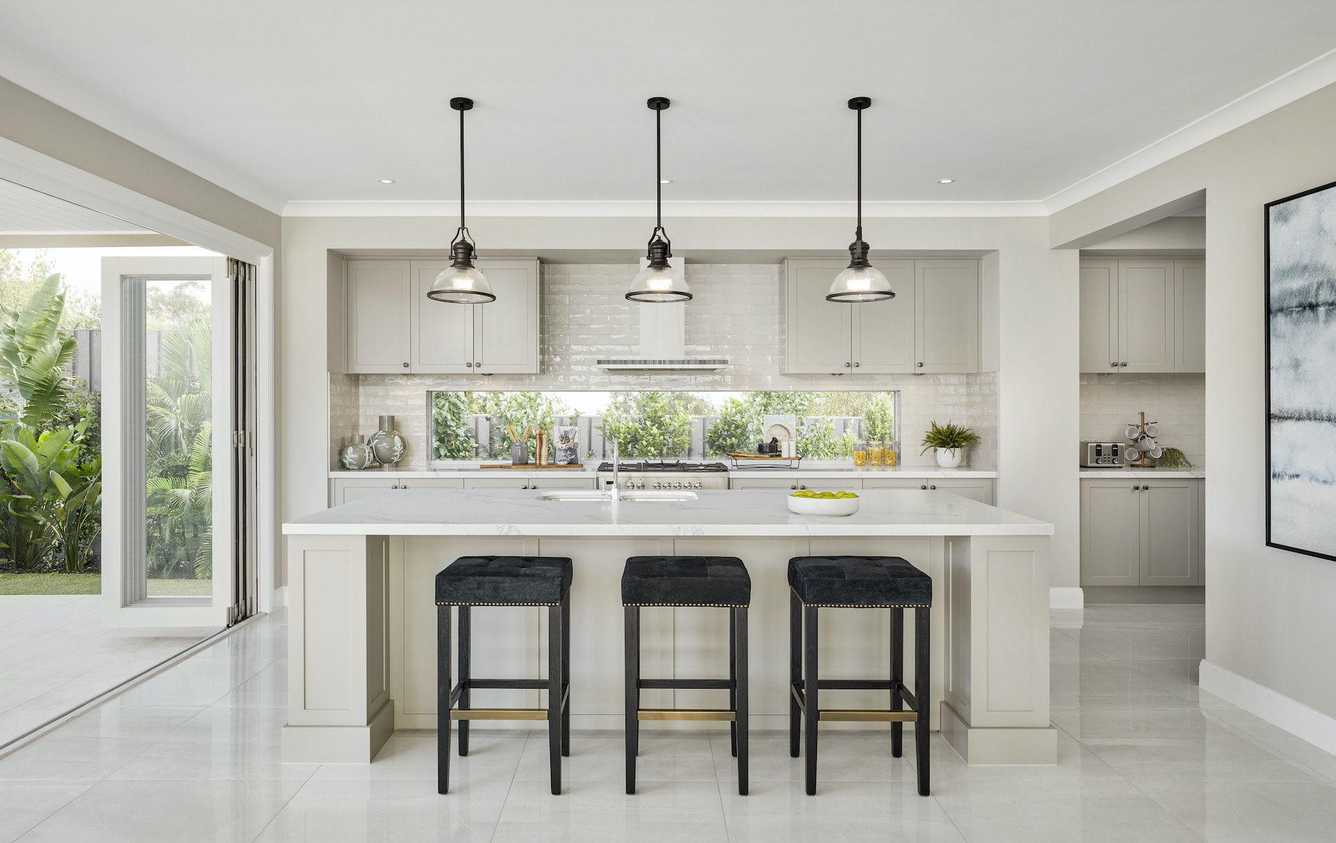 modern provincial kitchen with grey shaker cabinets kitchen island with industrial pendant lights