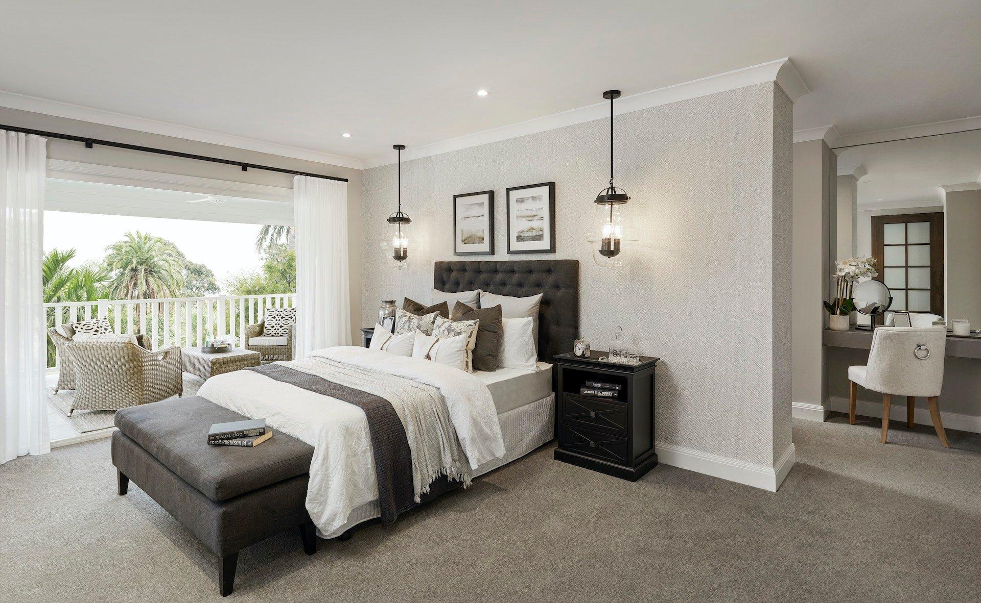 modern provincial master bedroom design with dark grey upholstered bedhead and industrial pendant lights