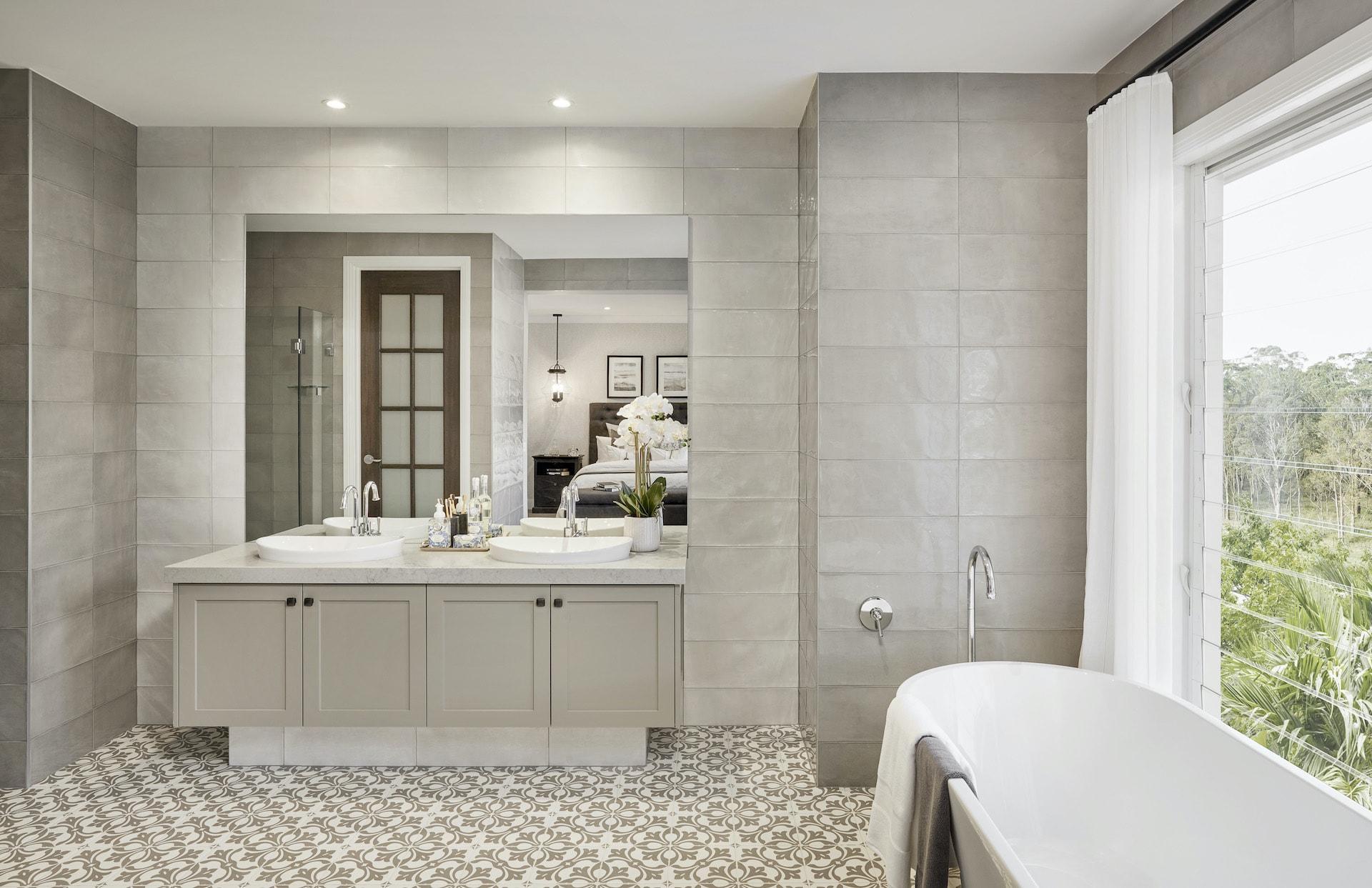 provincial bathroom design with grey shaker style bathroom vanity and round basins