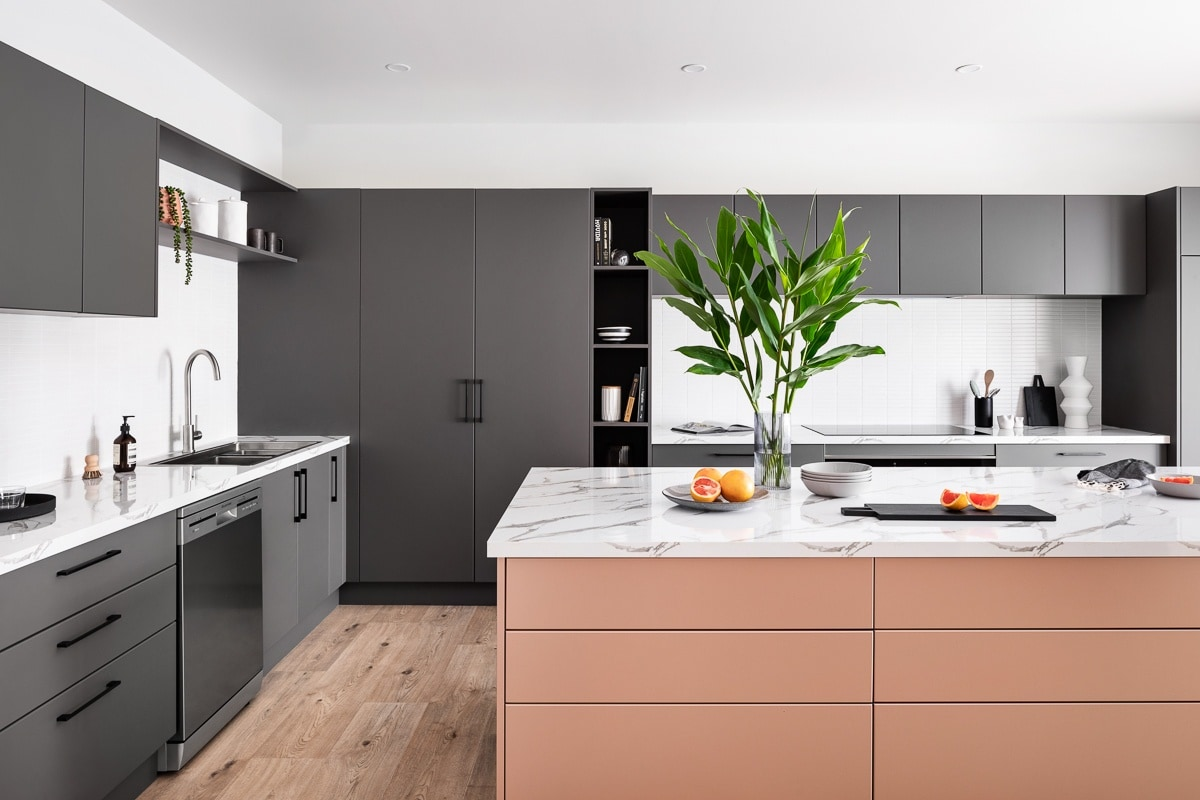 kaboodle kitchen dark grey and pink kitchen cabinets with white tiles