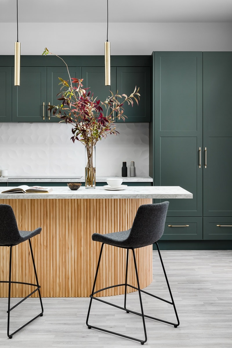 dark green kitchen cabinets kaboodle kitchens with timber perforated island bench